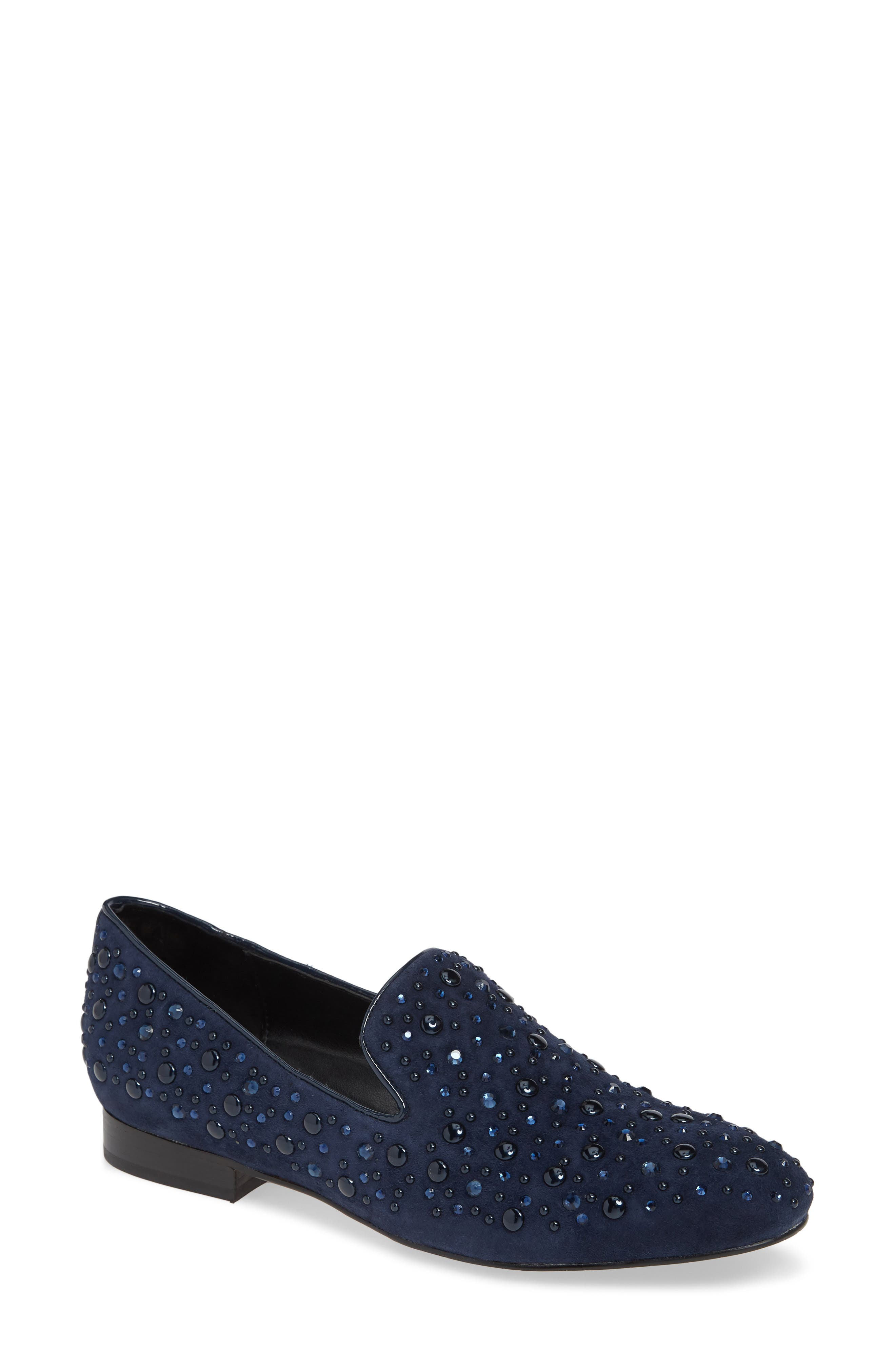Lynn Loafer Flat,                         Main,                         color, NAVY SUEDE