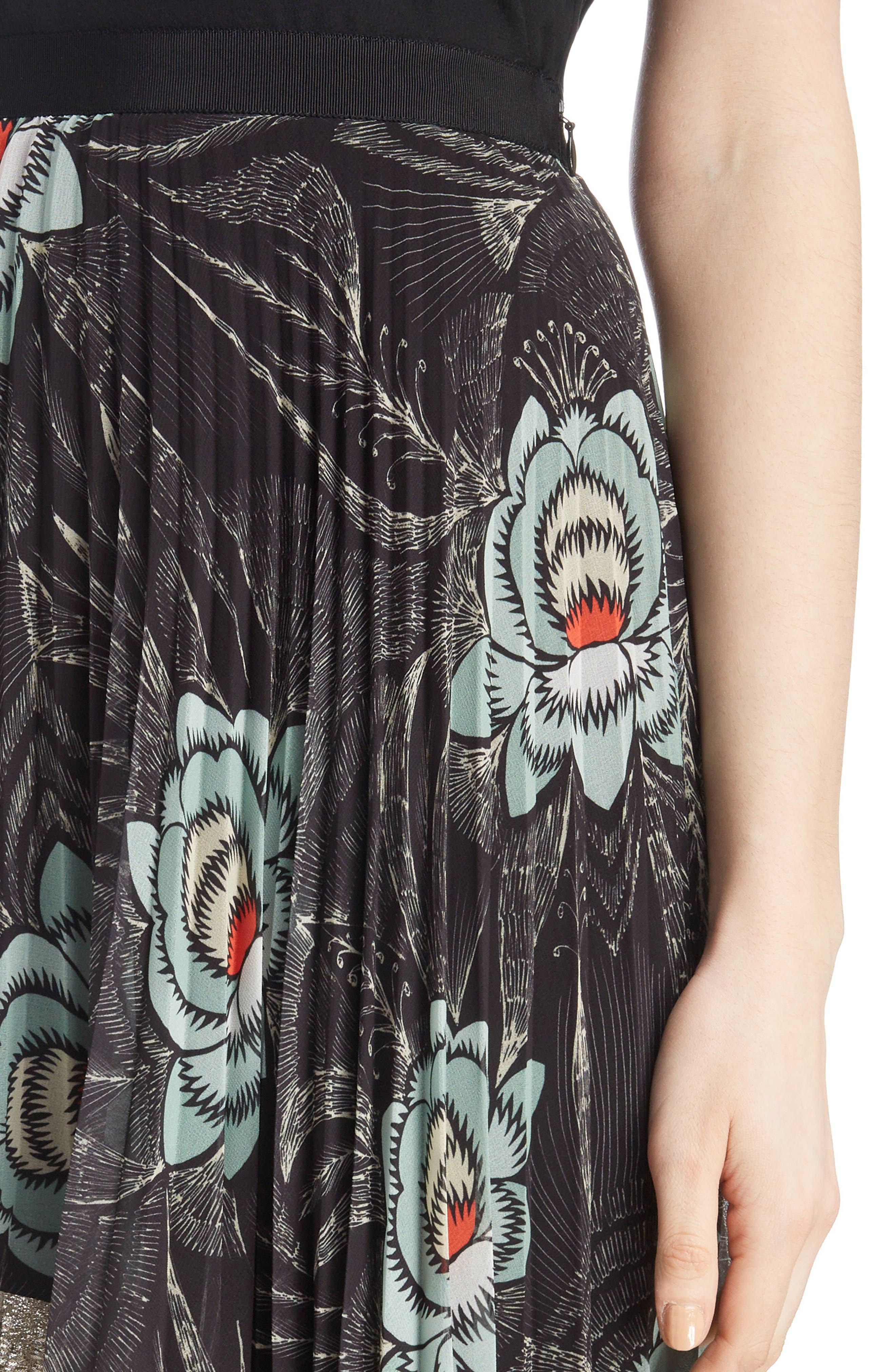 Pleated Floral Print & Metallic Skirt,                             Alternate thumbnail 4, color,                             BLACK