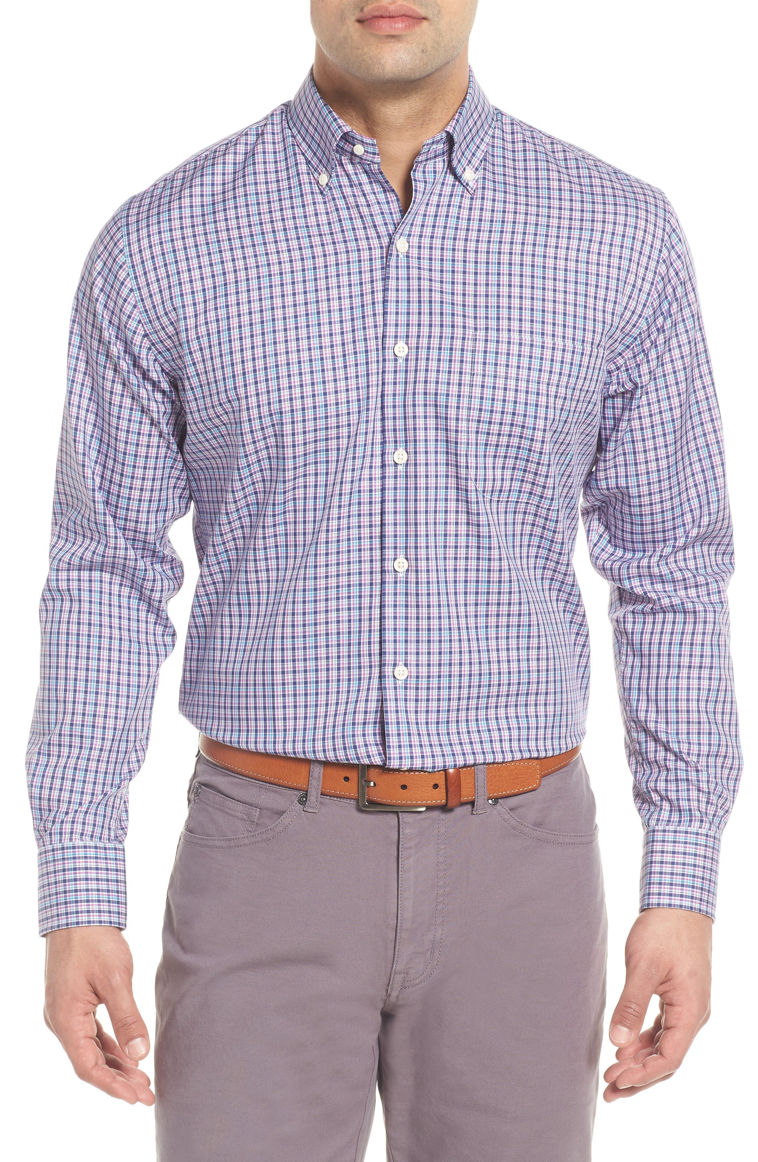 PETER MILLAR Crown Ease Kaci Plaid Sport Shirt, Main, color, 400