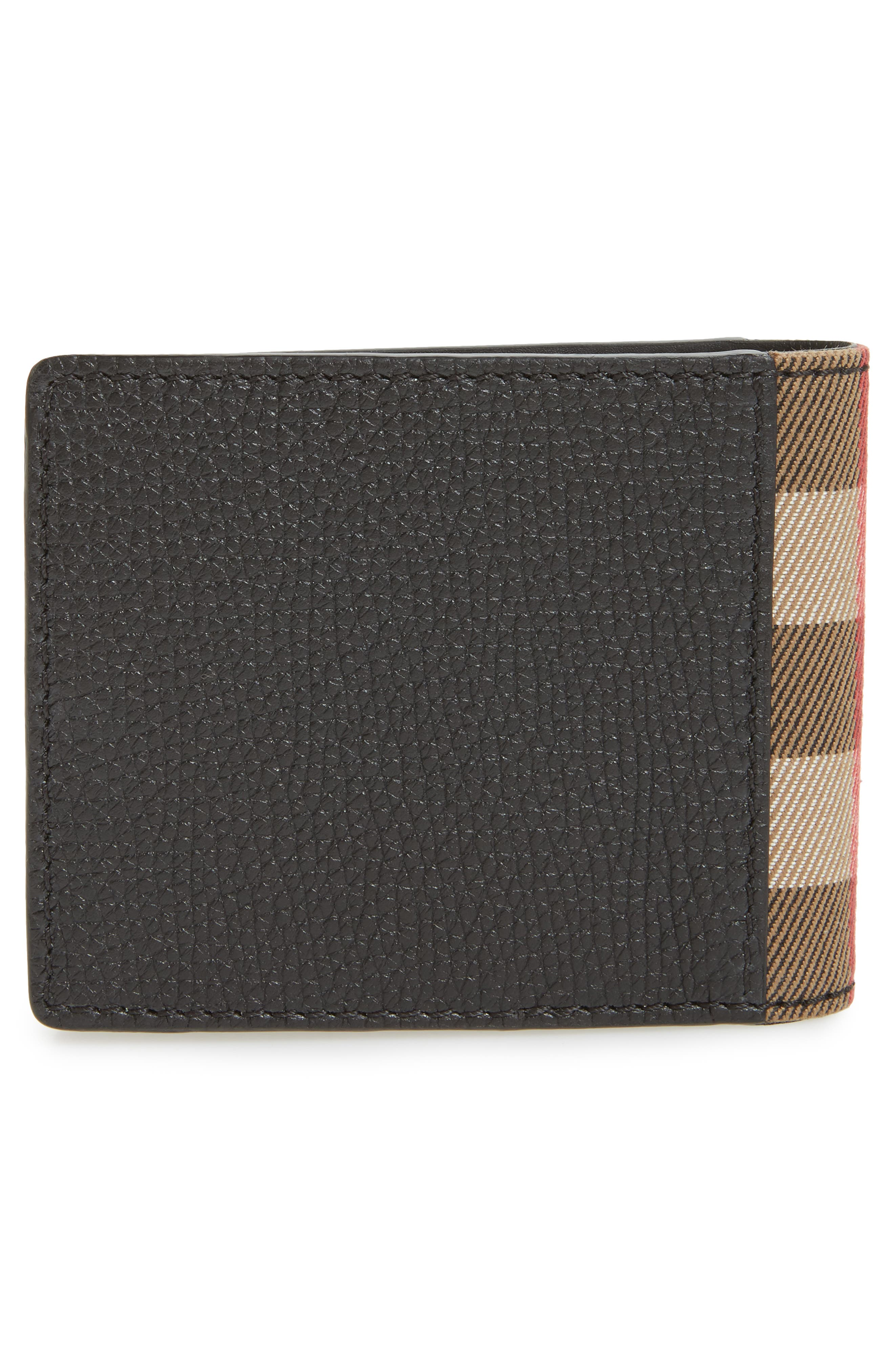 Check Leather Wallet,                             Alternate thumbnail 3, color,                             001