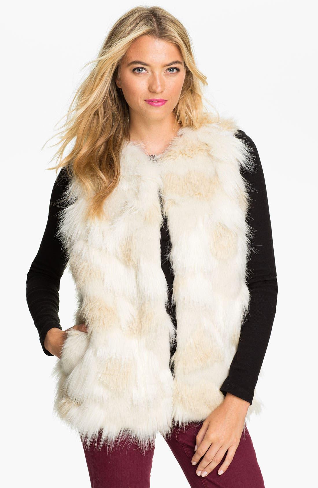 STEVE MADDEN Faux Fur Patch Vest, Main, color, 900