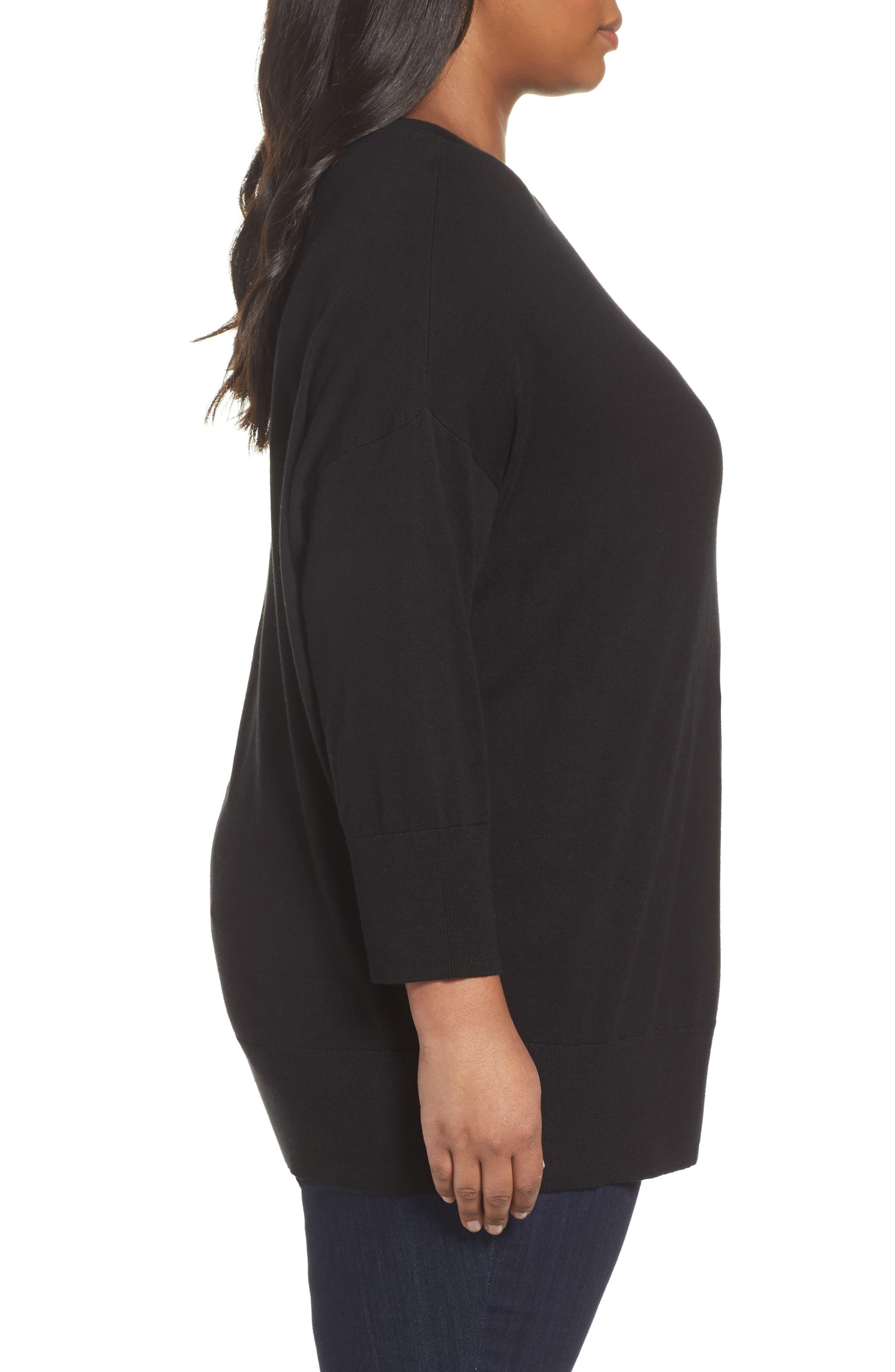 Dolman Sleeve Sweater,                             Alternate thumbnail 3, color,                             001