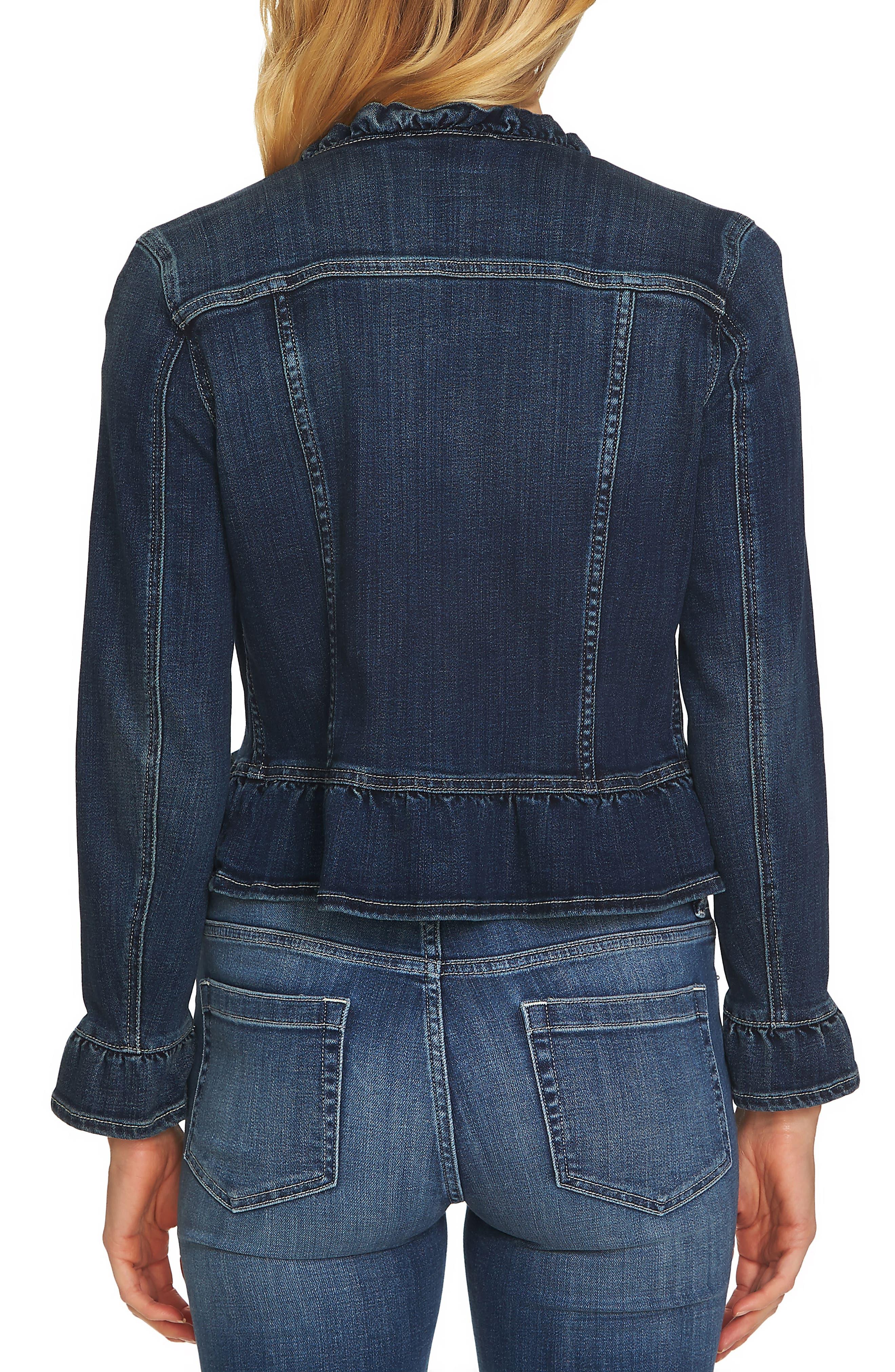 Ruffled Denim Jacket,                             Alternate thumbnail 2, color,                             TRUE BLUE