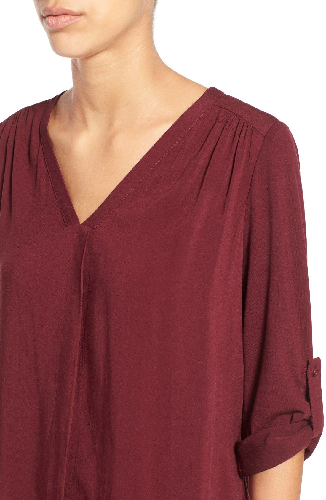 Mixed Media V-Neck Tunic,                             Alternate thumbnail 100, color,
