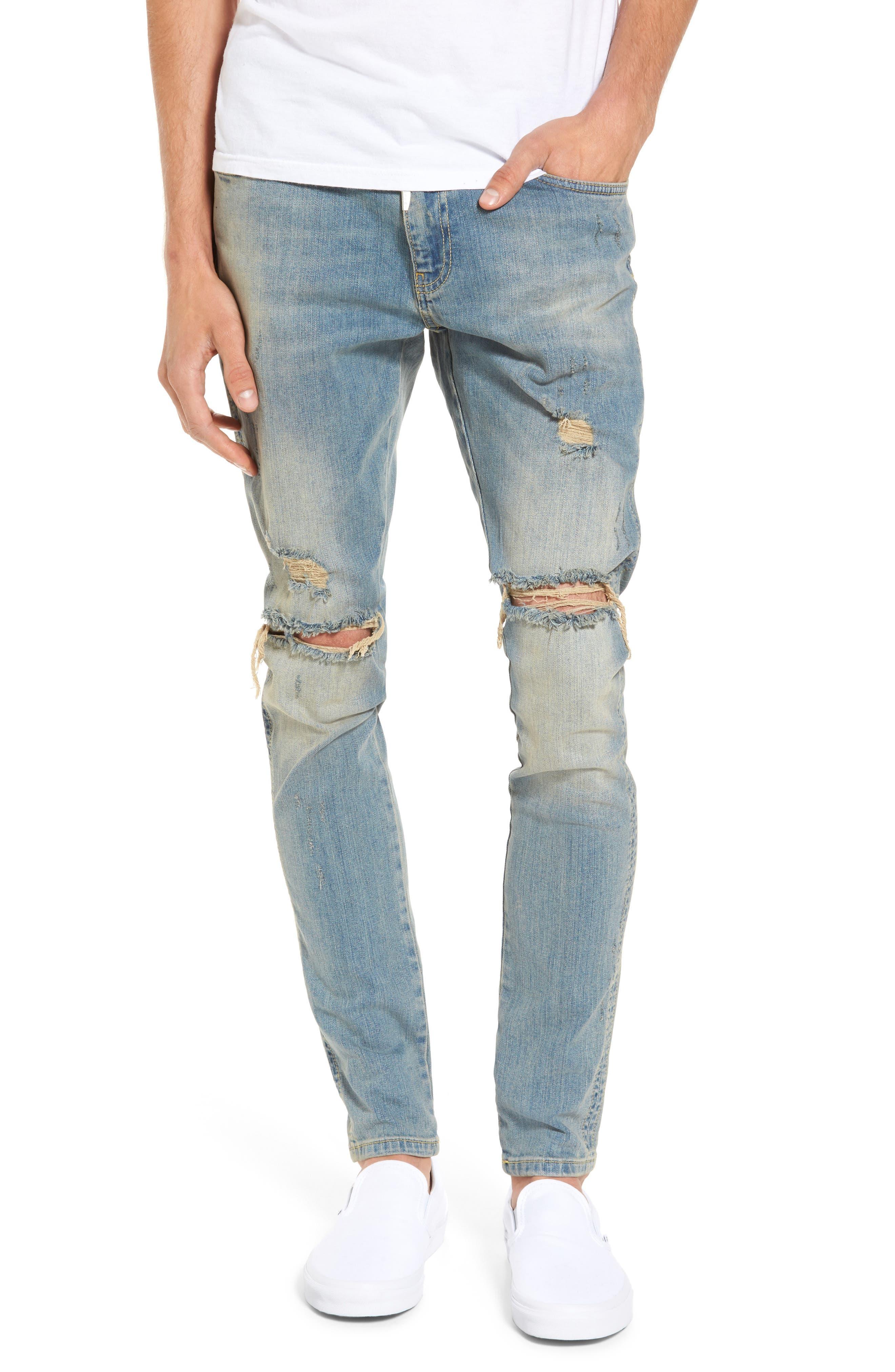 Slim Fit Destroyed Jeans,                             Main thumbnail 3, color,