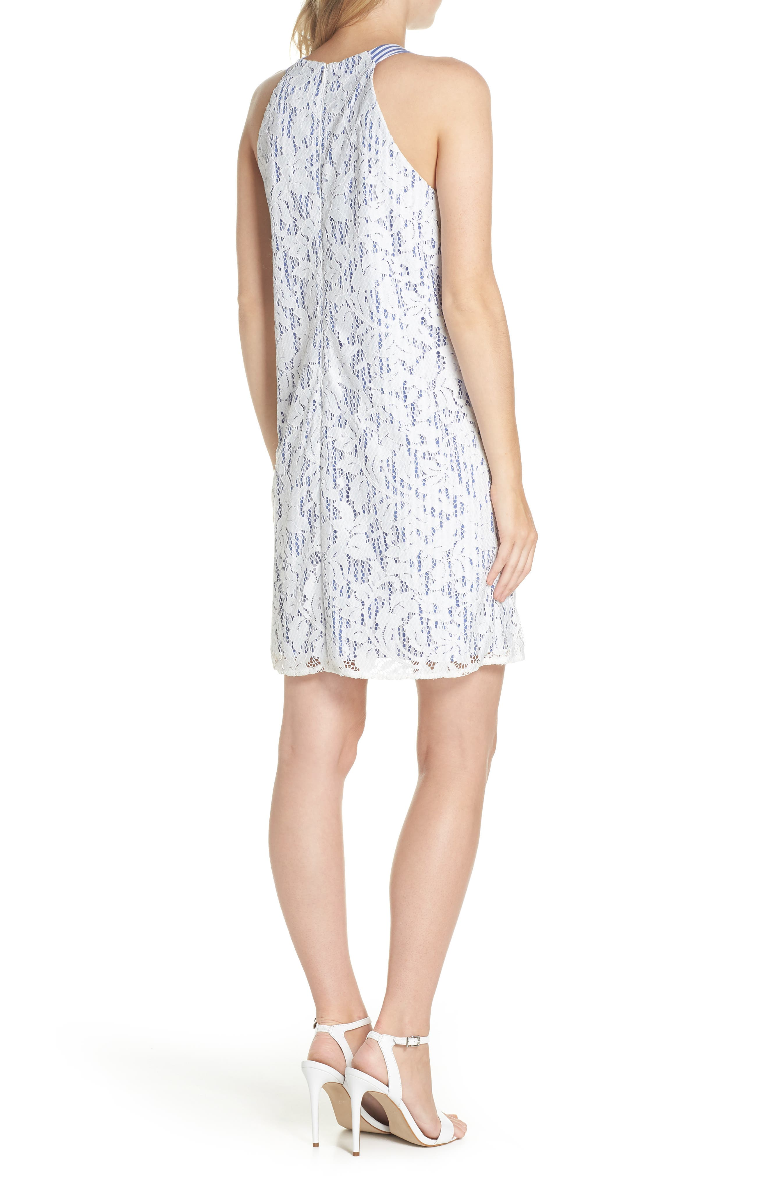 Pinstripe Lace Overlay Shift Dress,                             Alternate thumbnail 2, color,                             WHITE/ BLUE