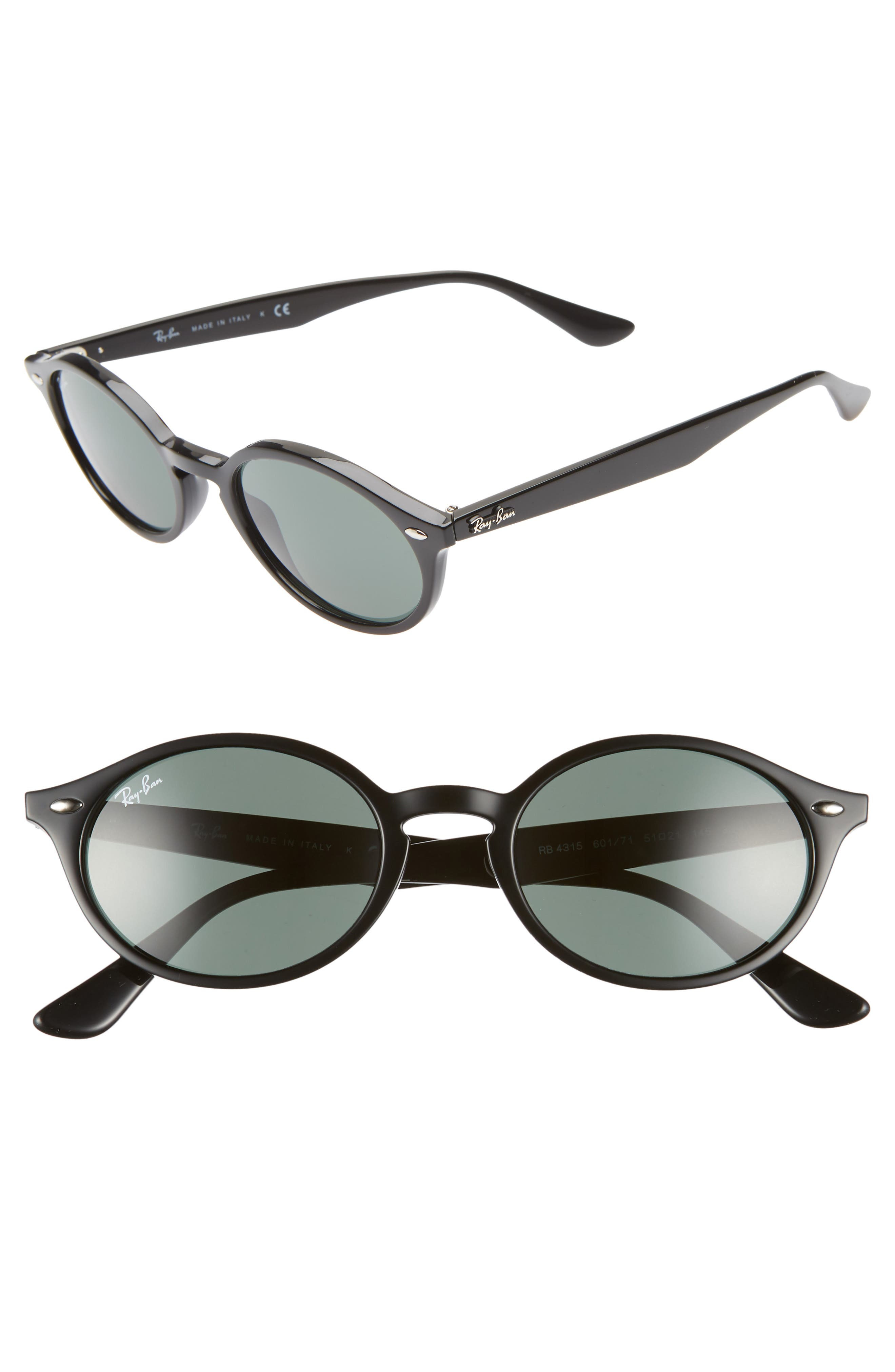 Ray-Ban 51Mm Oval Sunglasses - Black/ Green Solid