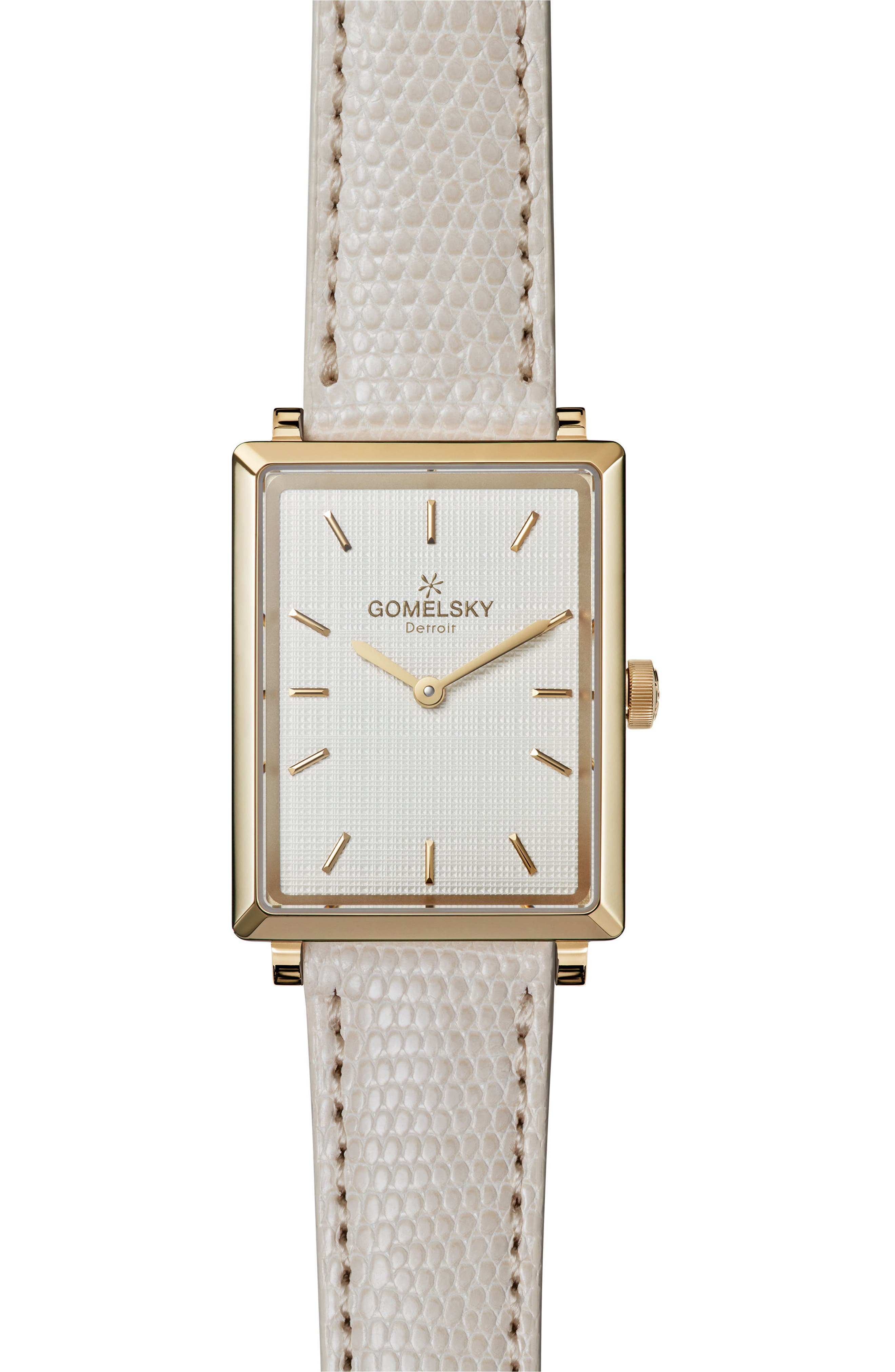The Shirley Fromer Leather Strap Watch, 32mm x 25mm,                         Main,                         color, WHITE/ GOLD