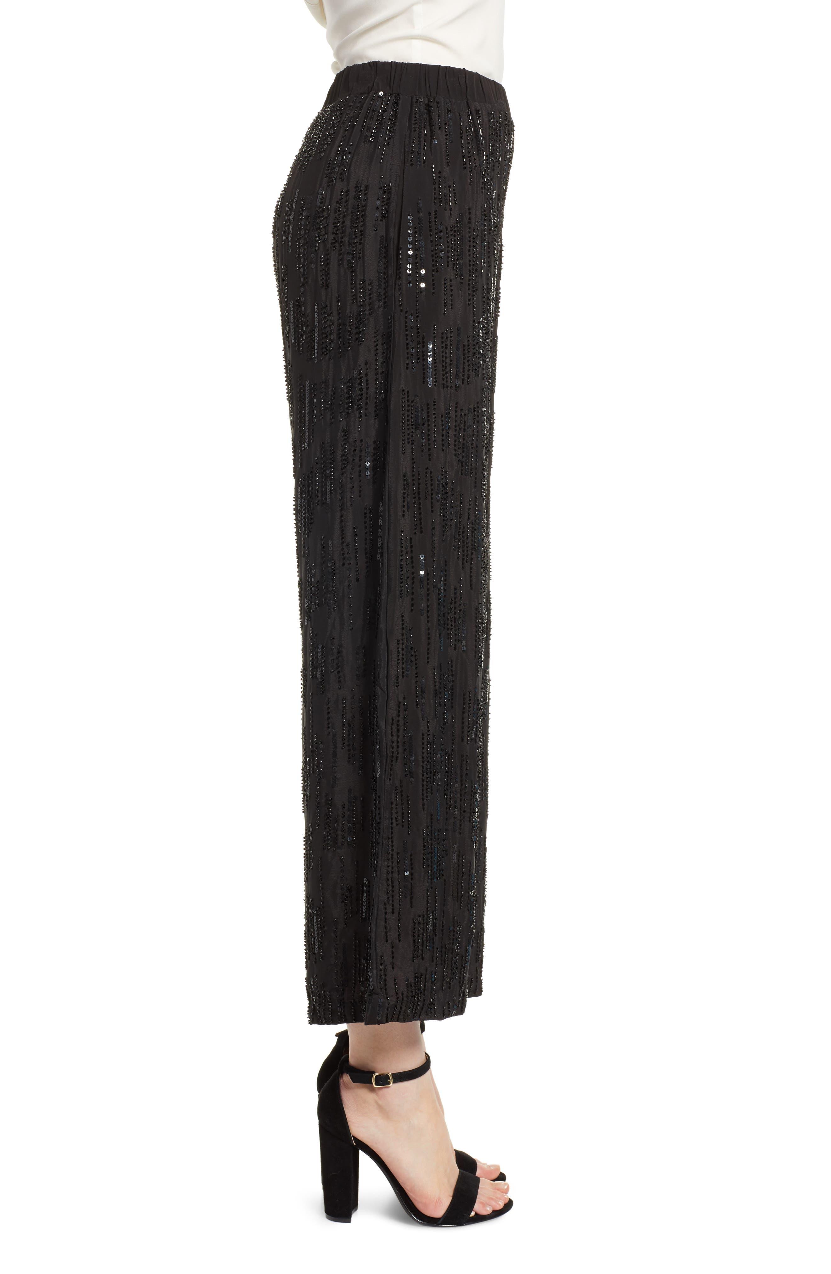 Raindrop Sequin Pants,                             Alternate thumbnail 3, color,                             BLACK