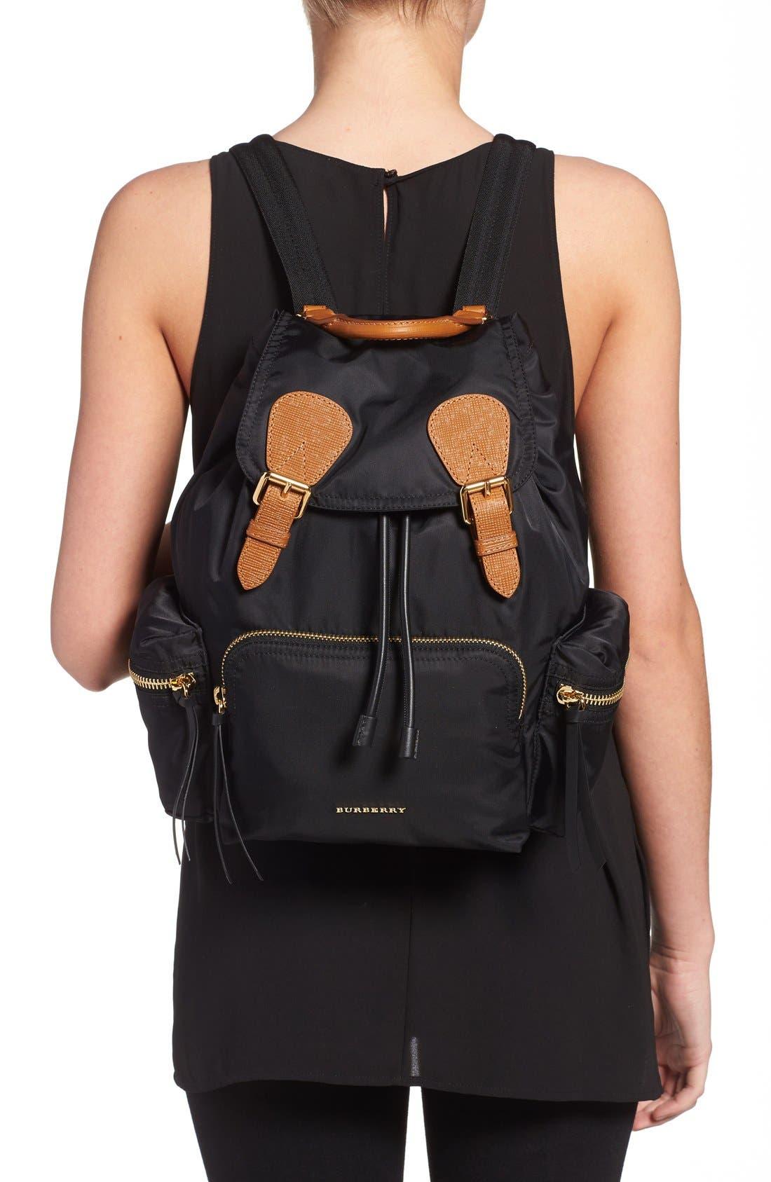 'Medium Runway Rucksack' Nylon Backpack,                             Alternate thumbnail 3, color,                             BLACK