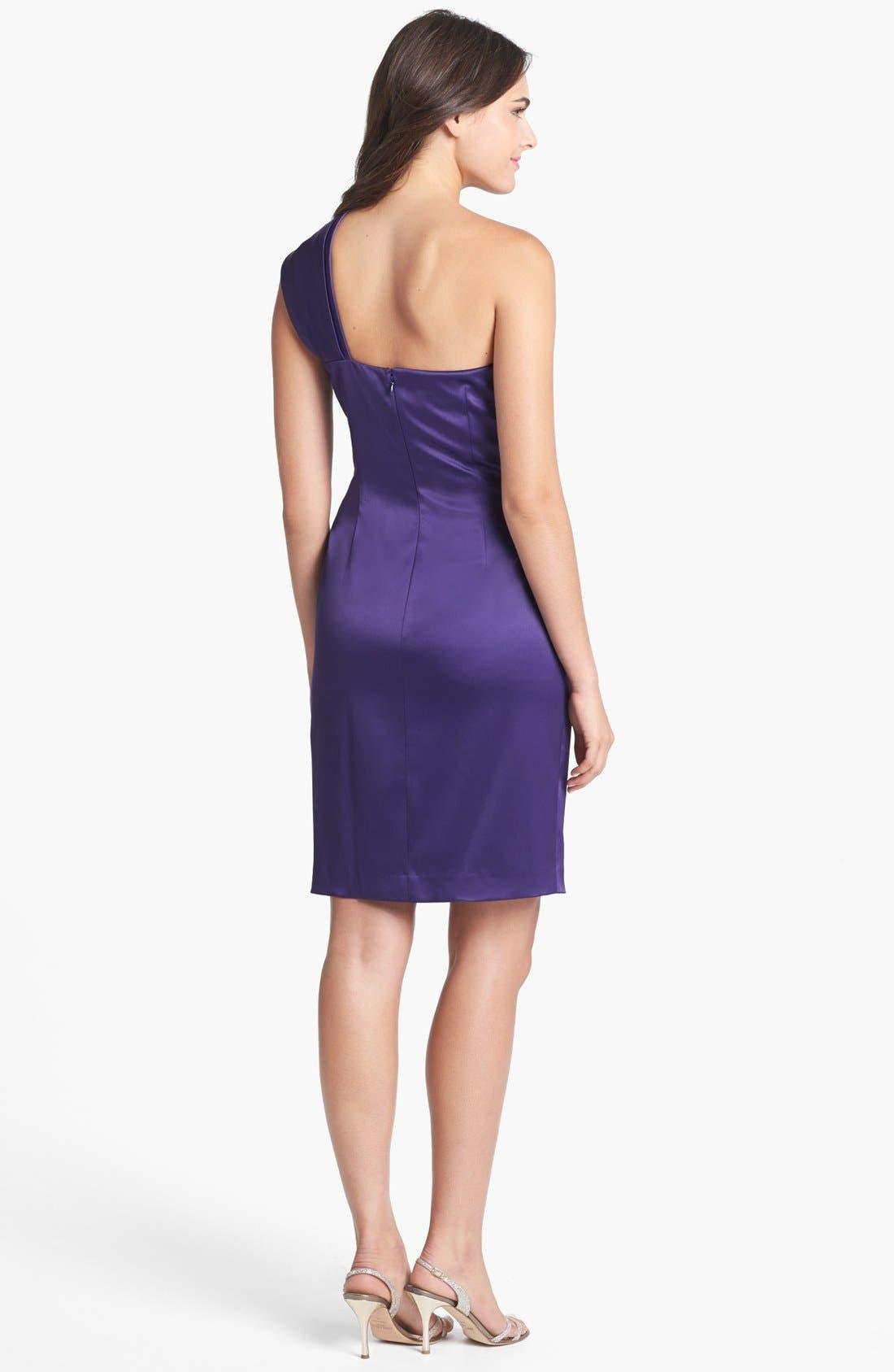 Beaded One-Shoulder Satin Dress,                             Alternate thumbnail 21, color,