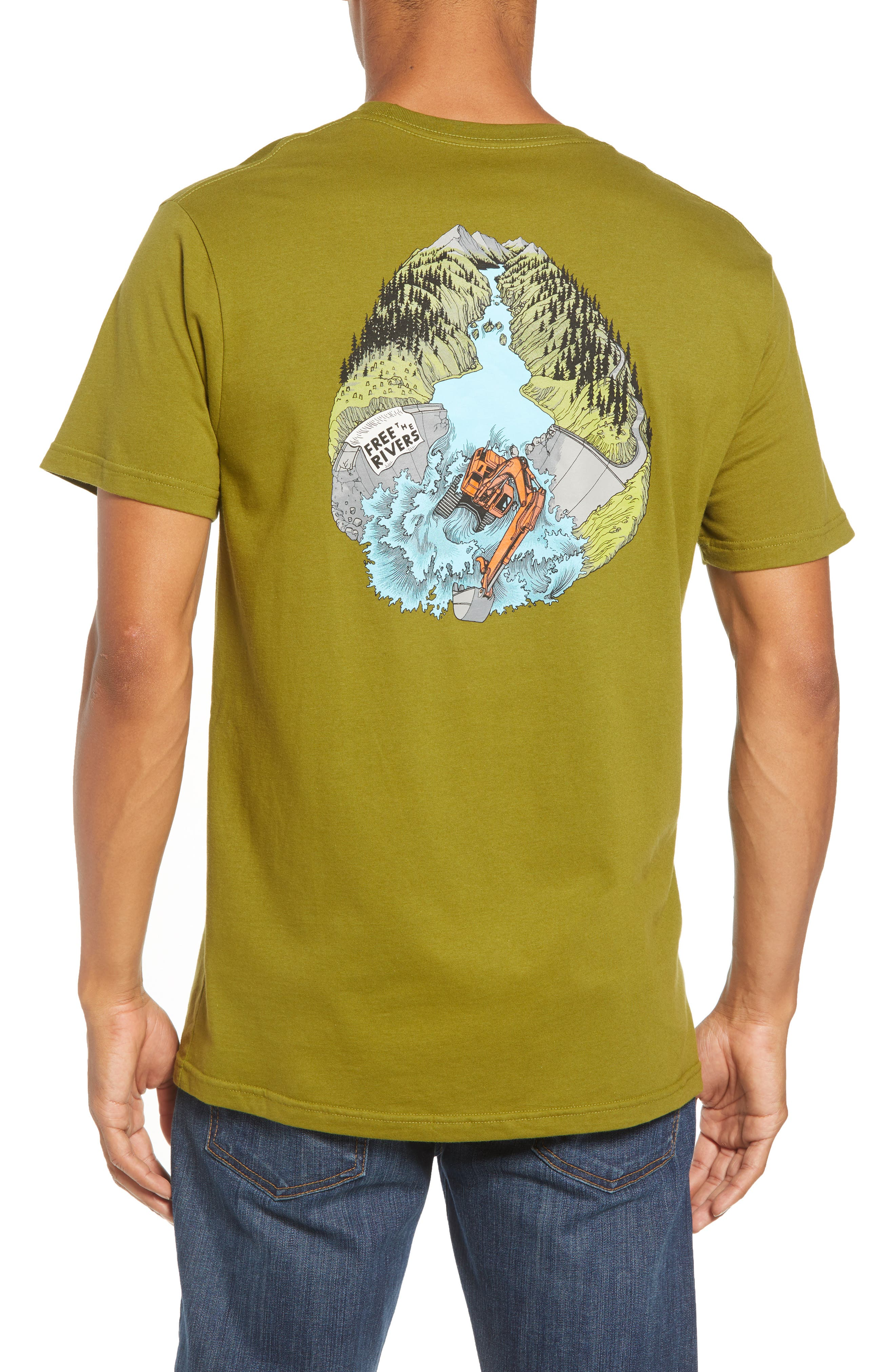 River Liberation Organic Cotton Graphic T-Shirt,                             Alternate thumbnail 2, color,                             WILLOW HERB GREEN