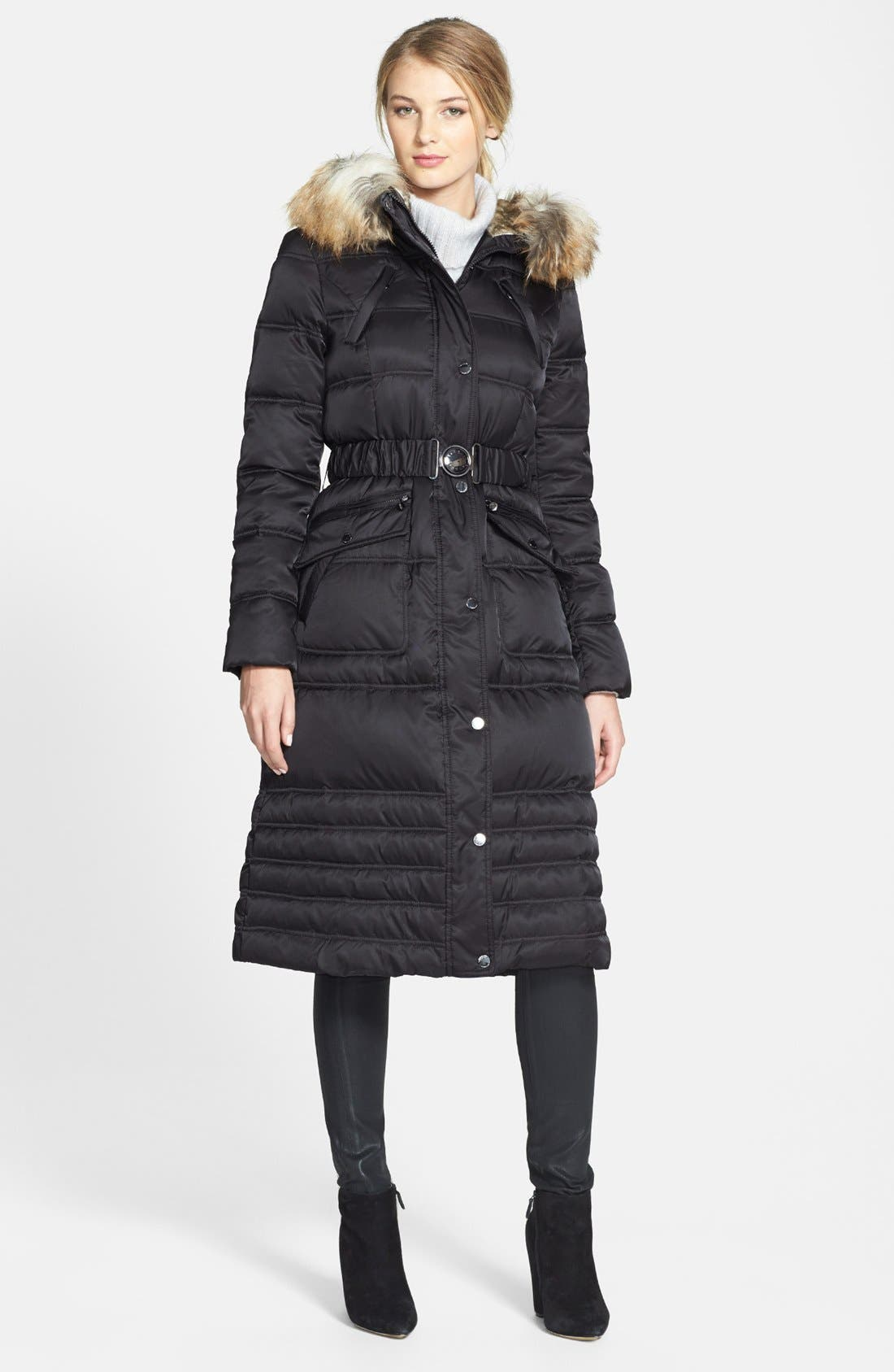 Faux Fur Trim Puffer Coat,                             Main thumbnail 1, color,                             001