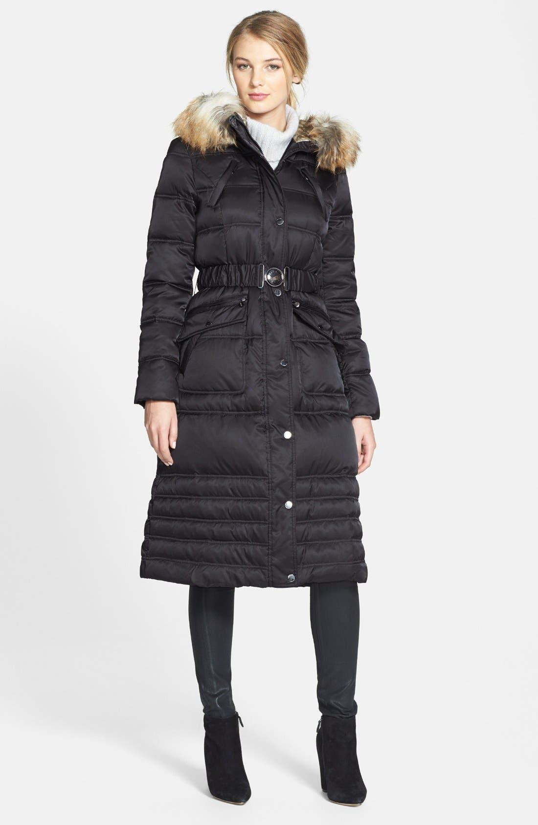 Faux Fur Trim Puffer Coat, Main, color, 001