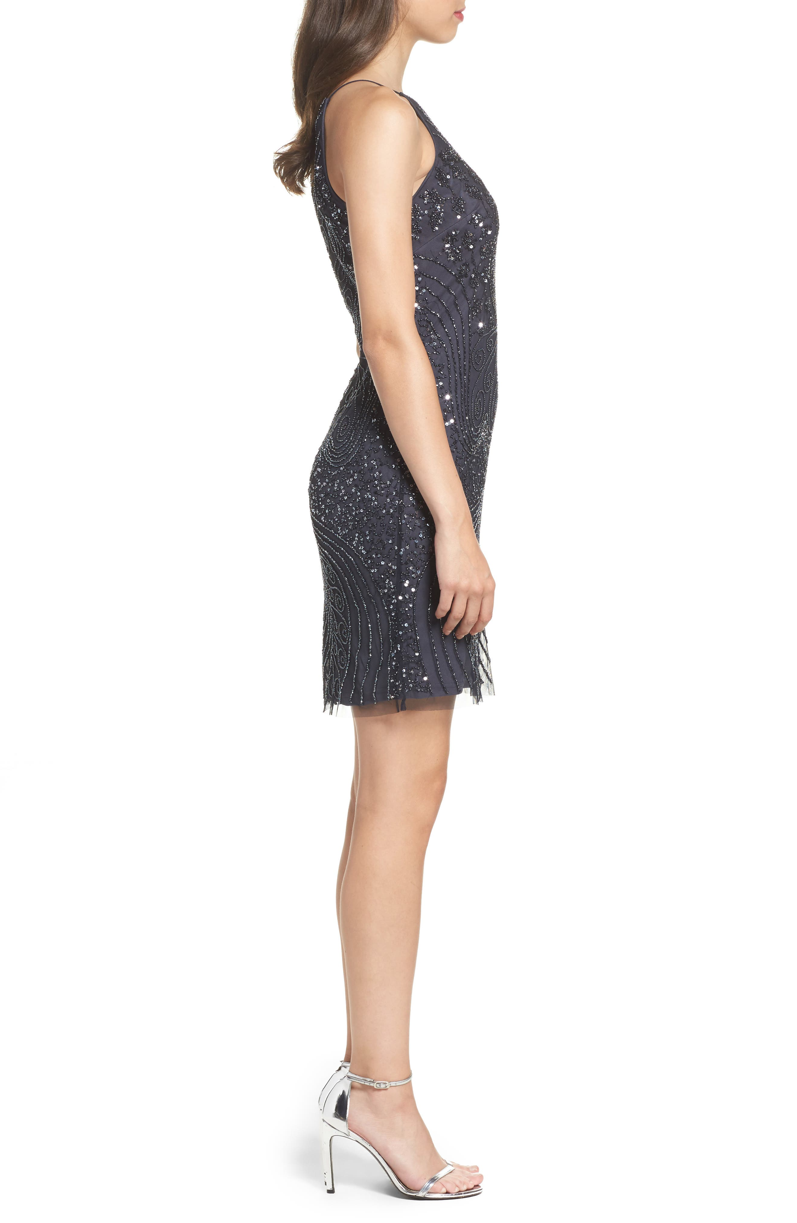 Beaded Sheath Dress,                             Alternate thumbnail 3, color,                             088