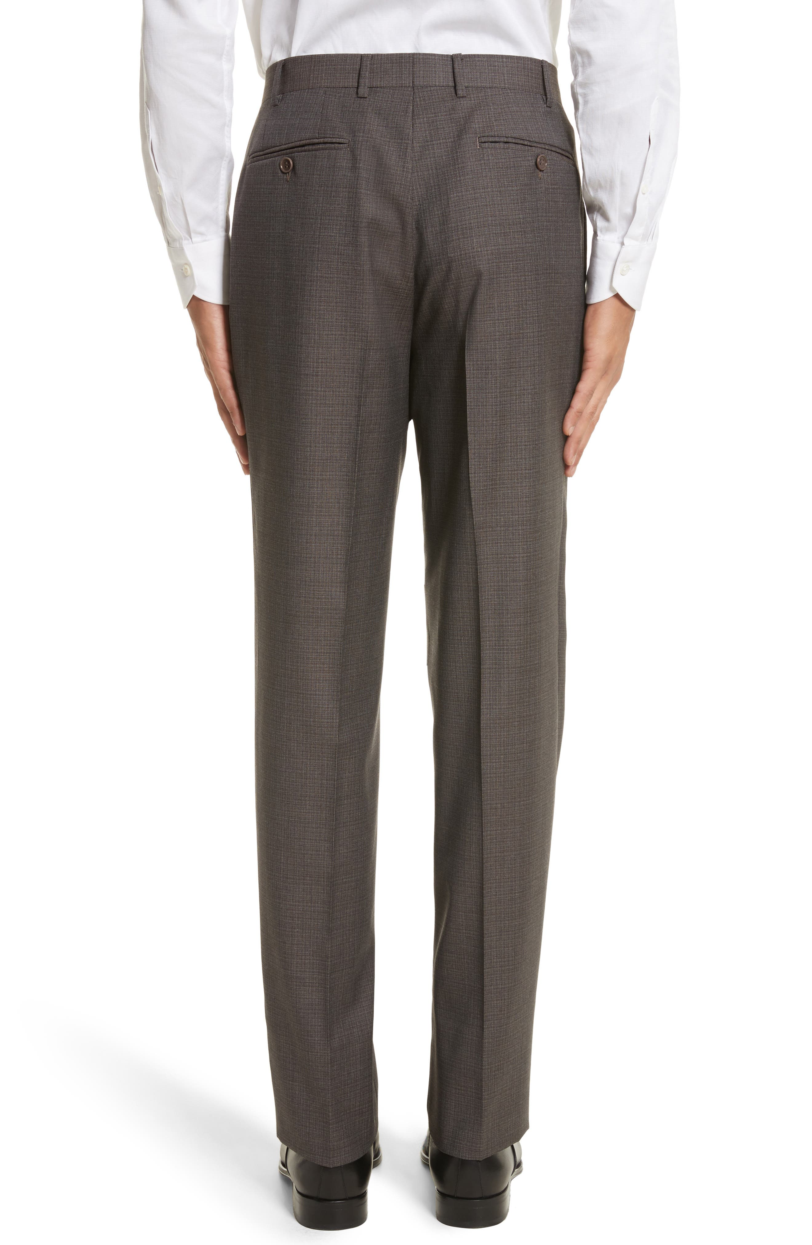 Flat Front Check Wool Trousers,                             Alternate thumbnail 3, color,                             251