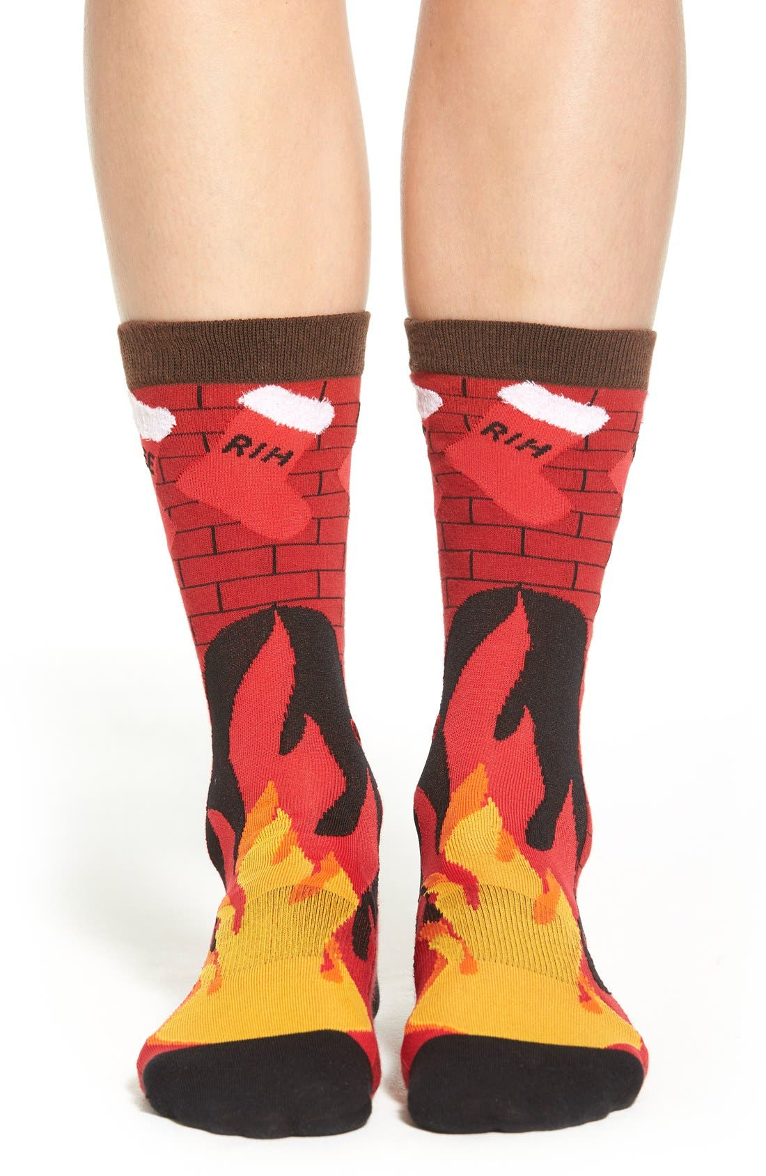 Fireplace Pattern Crew Socks, Main, color, 610