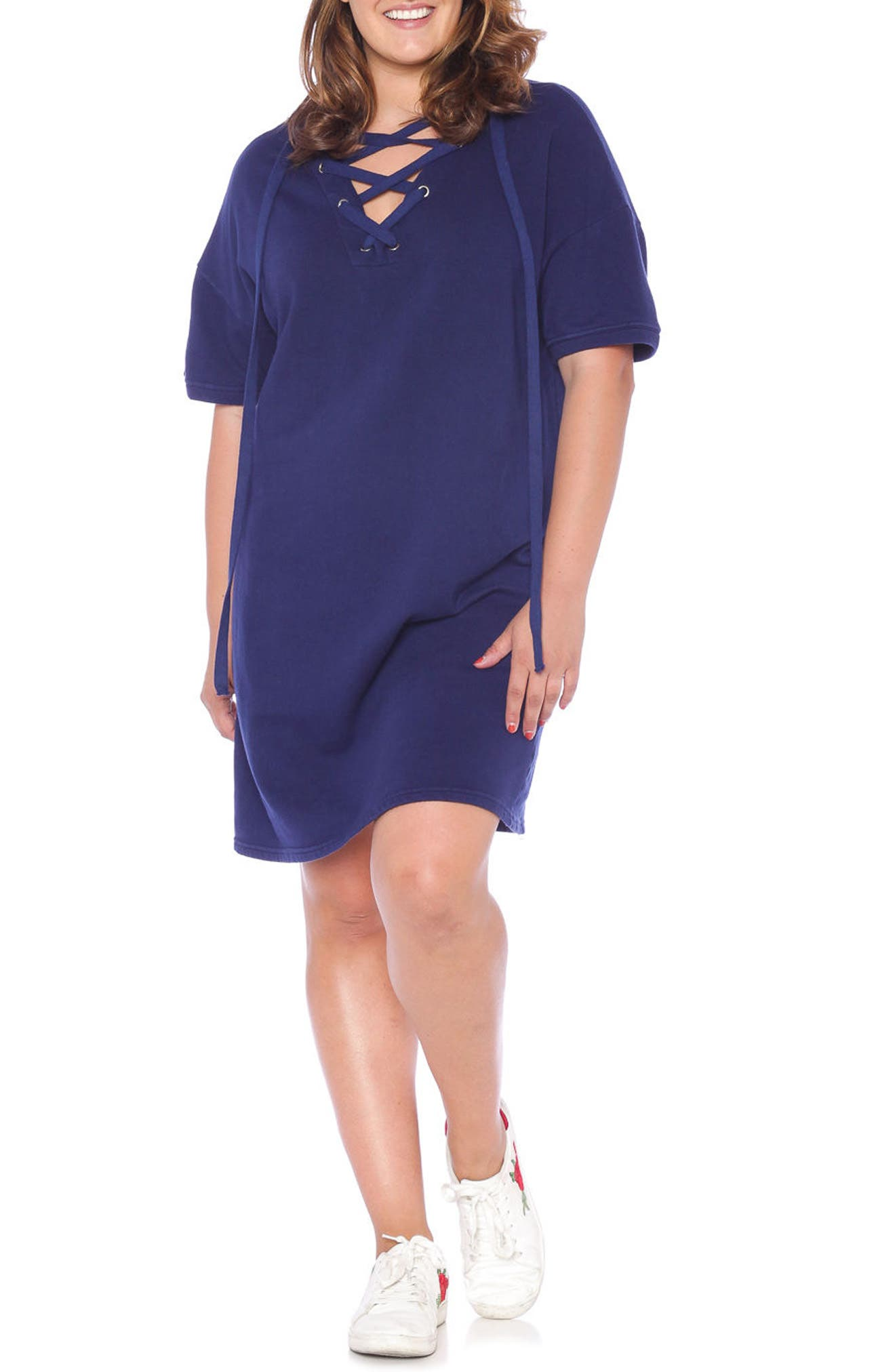 Lace-Up Hoodie Dress,                             Alternate thumbnail 6, color,                             NAVY