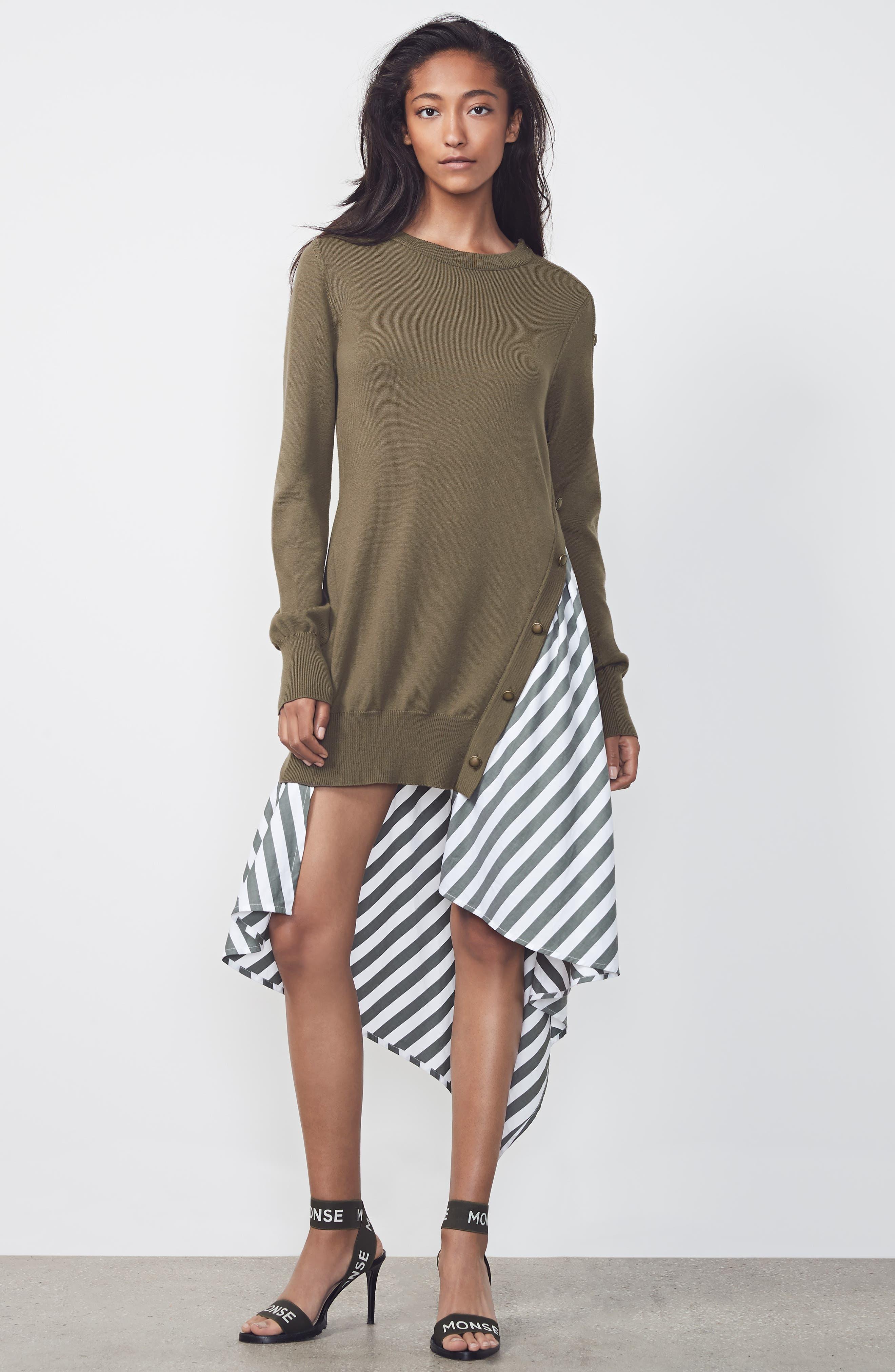 MONSE,                             Knit & Stripe Poplin Asymmetrical Dress,                             Alternate thumbnail 7, color,                             OLIVE/ WHITE
