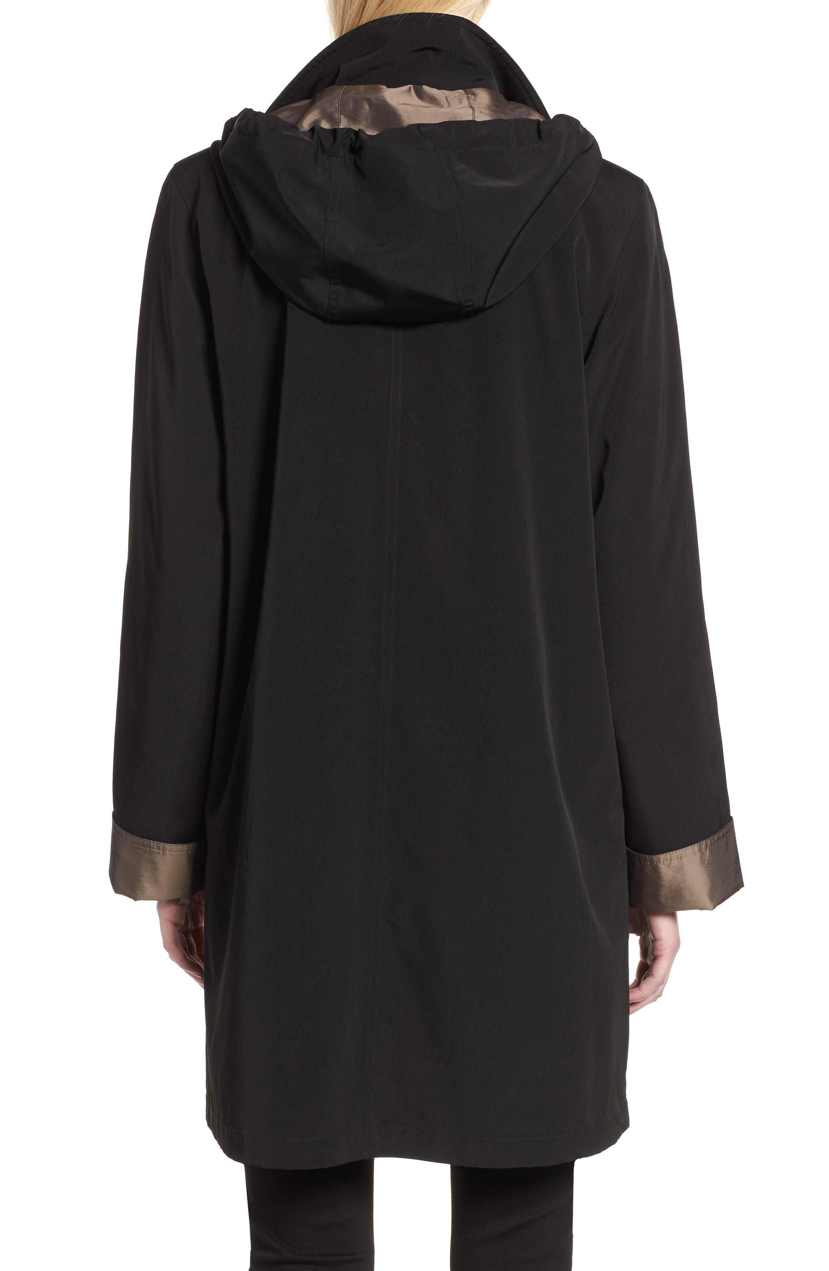Detachable Hood & Liner Raincoat,                             Alternate thumbnail 2, color,                             BLACK