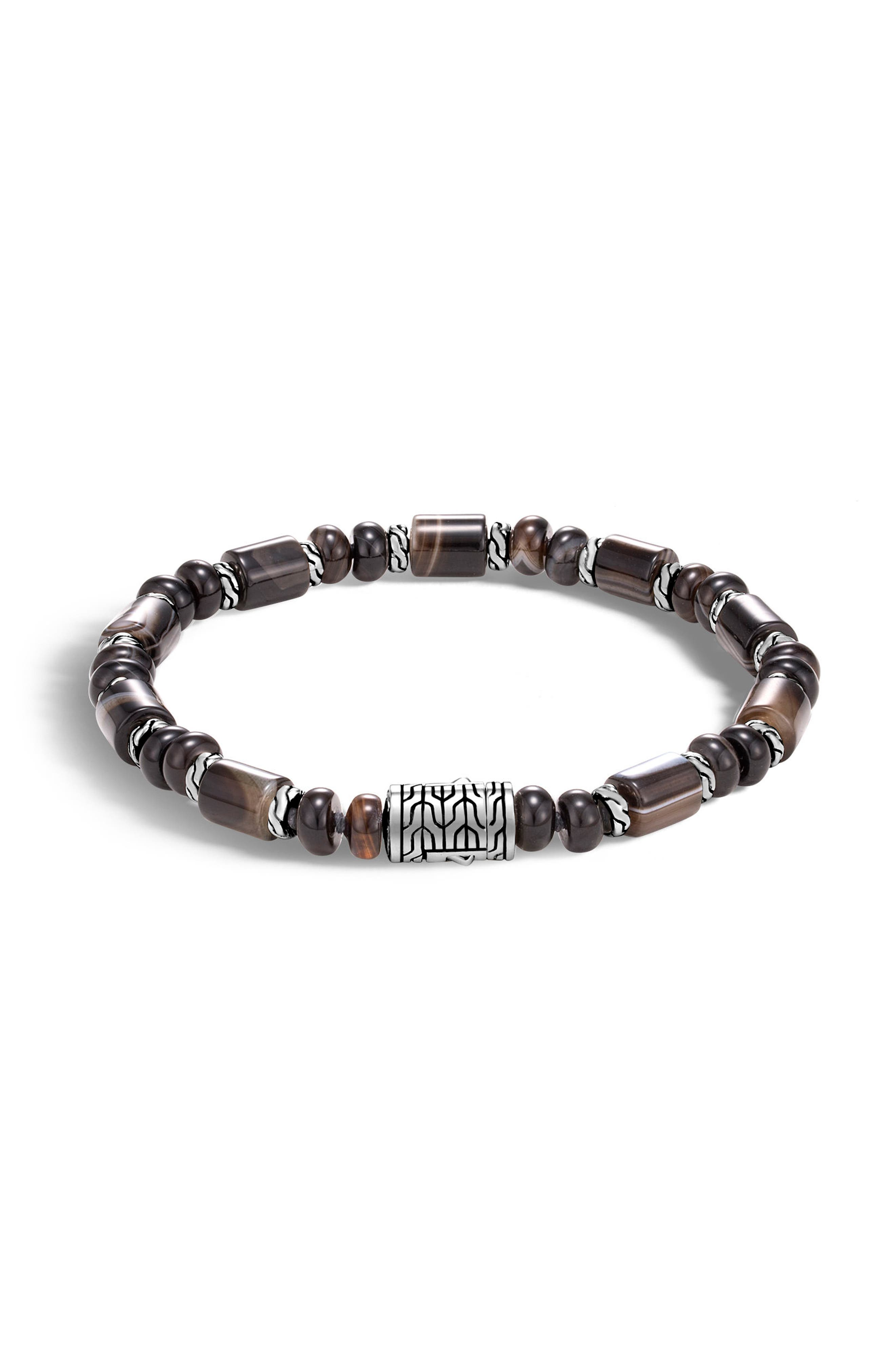 Classic Chain Bead Banded Agate Bracelet,                         Main,                         color, SILVER/ BANDED AGATE