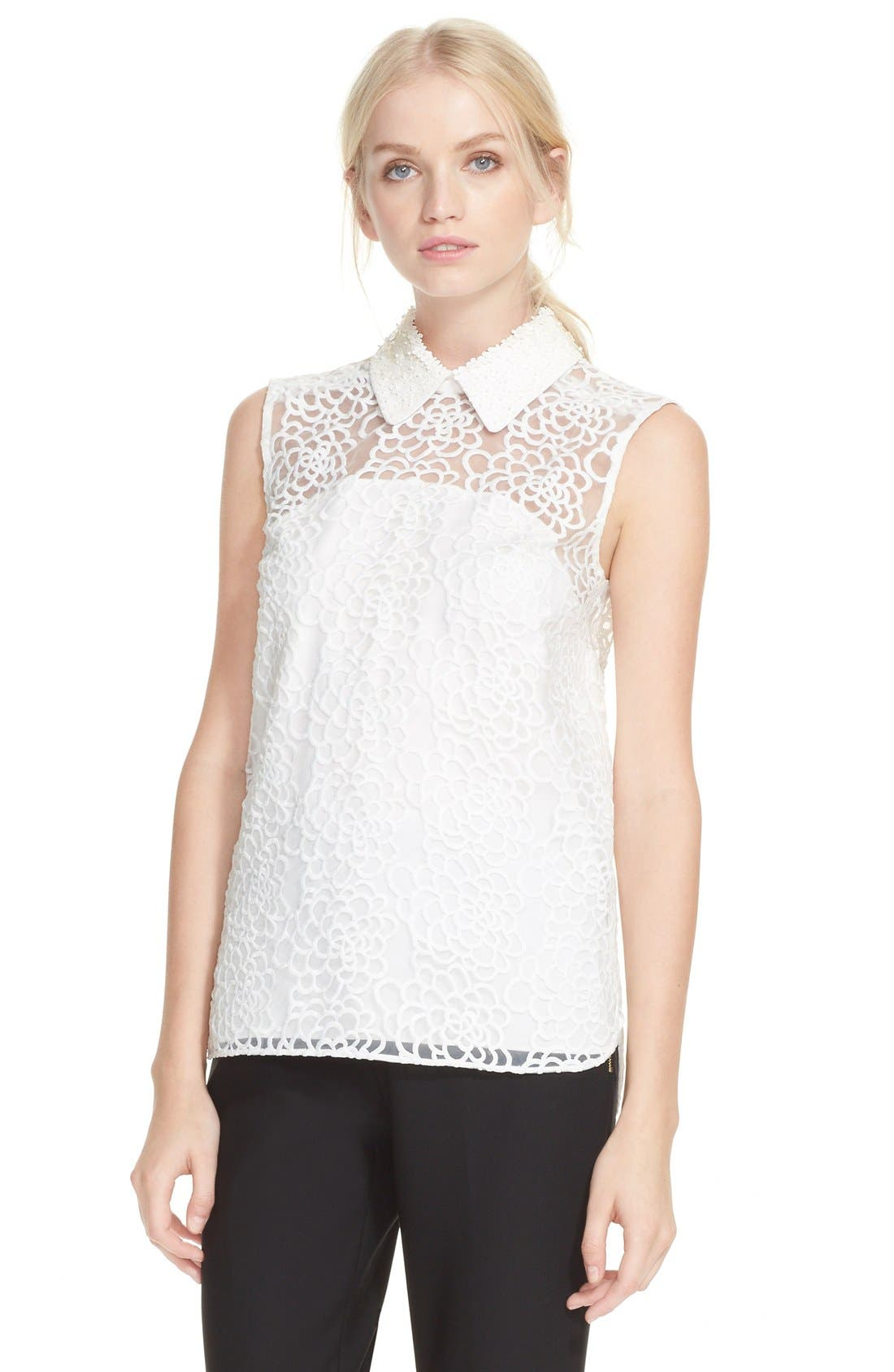 kate spade new york sleeveless floral organza top,                         Main,                         color, 142