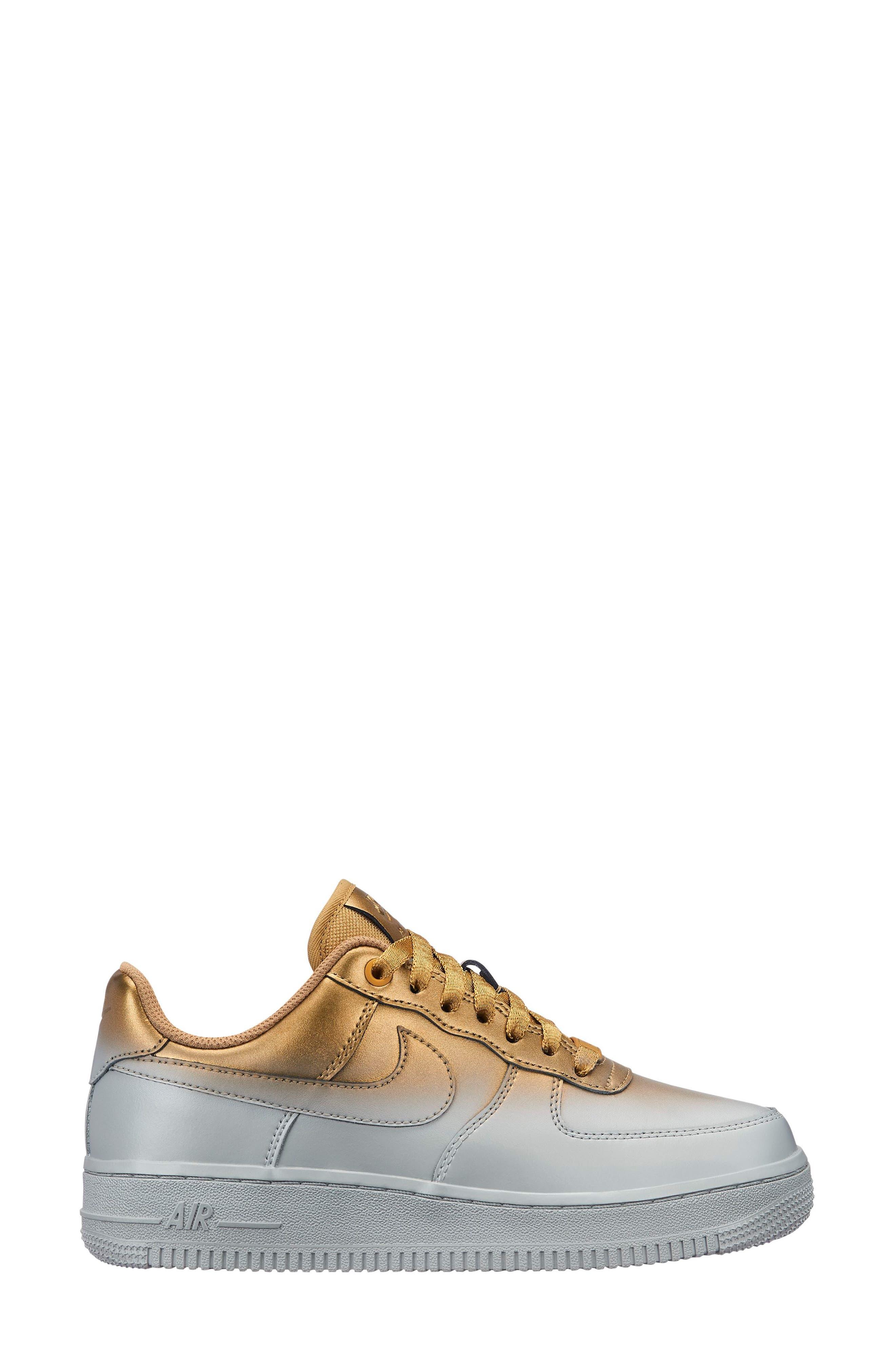 NIKE Air Force 1 '07 LX Sneaker, Main, color, METALLIC PLATINUM/ GOLD