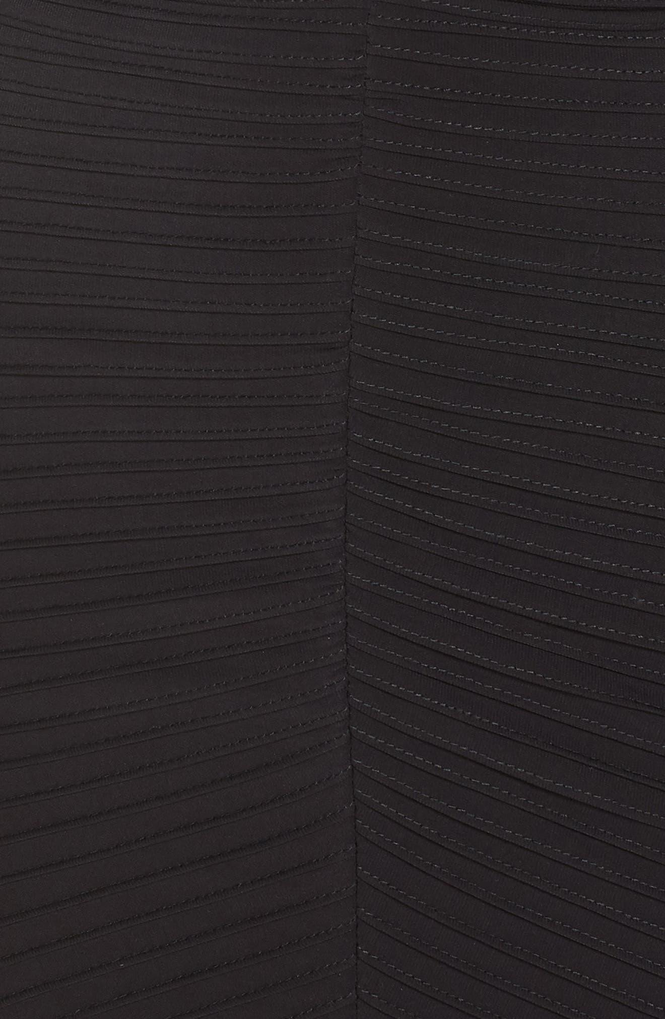 Pintuck High/Low Midi Dress,                             Alternate thumbnail 6, color,                             BLACK