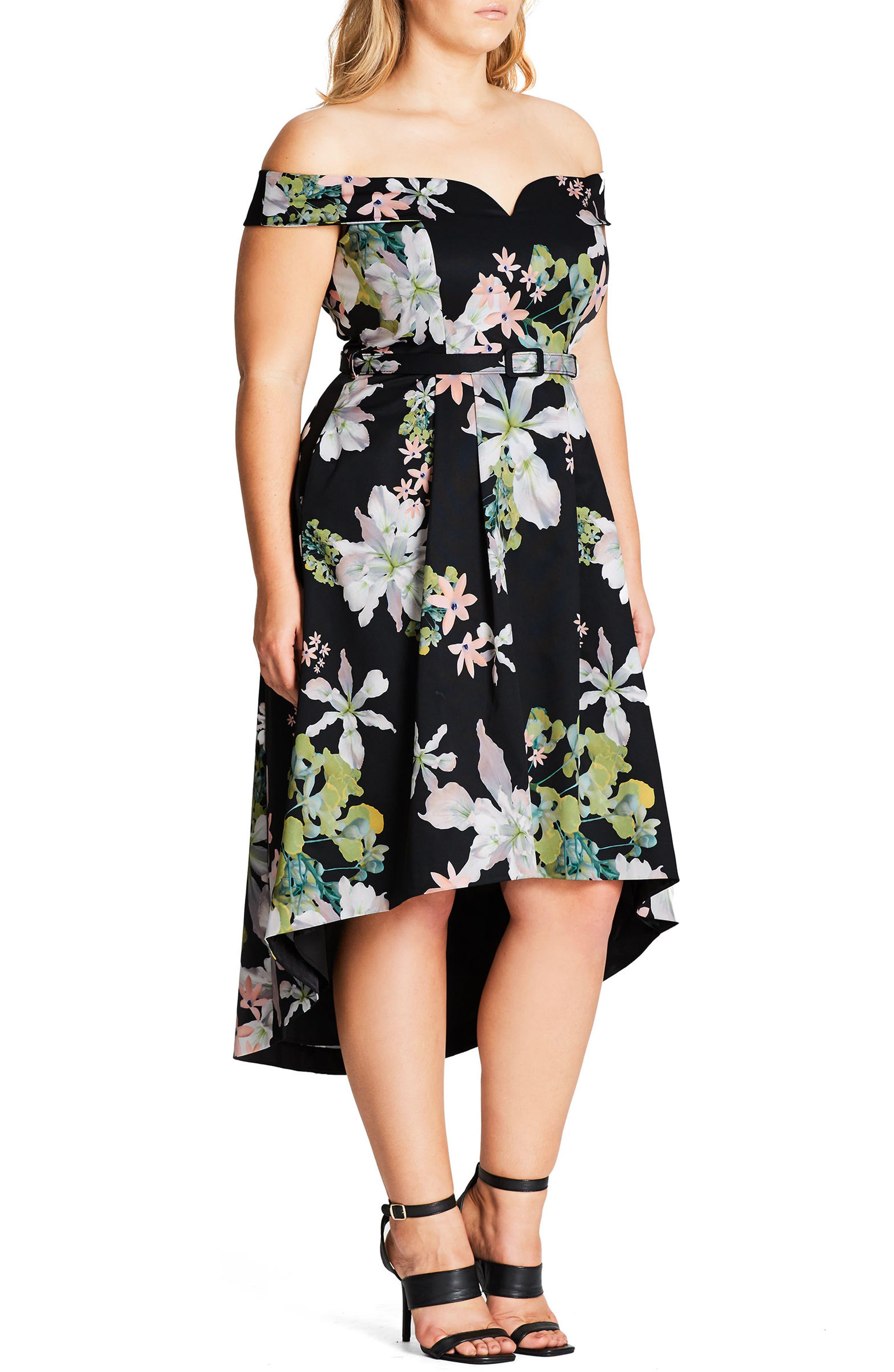 Spring Belted Off the Shoulder Dress,                             Alternate thumbnail 3, color,                             001