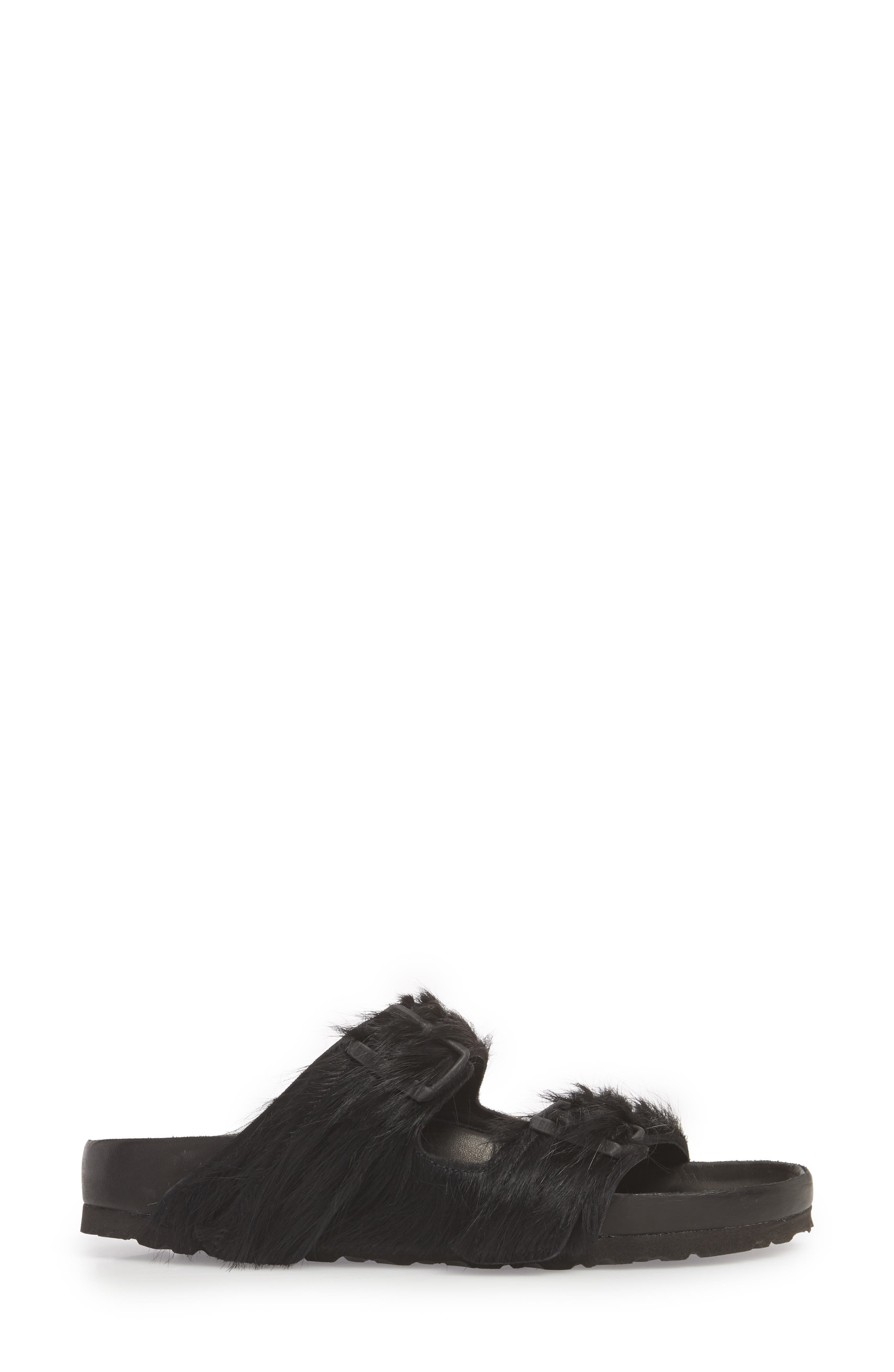 Rick Owens x Birkenstock Arizona Sandal,                             Alternate thumbnail 3, color,                             BLACK CALF HAIR