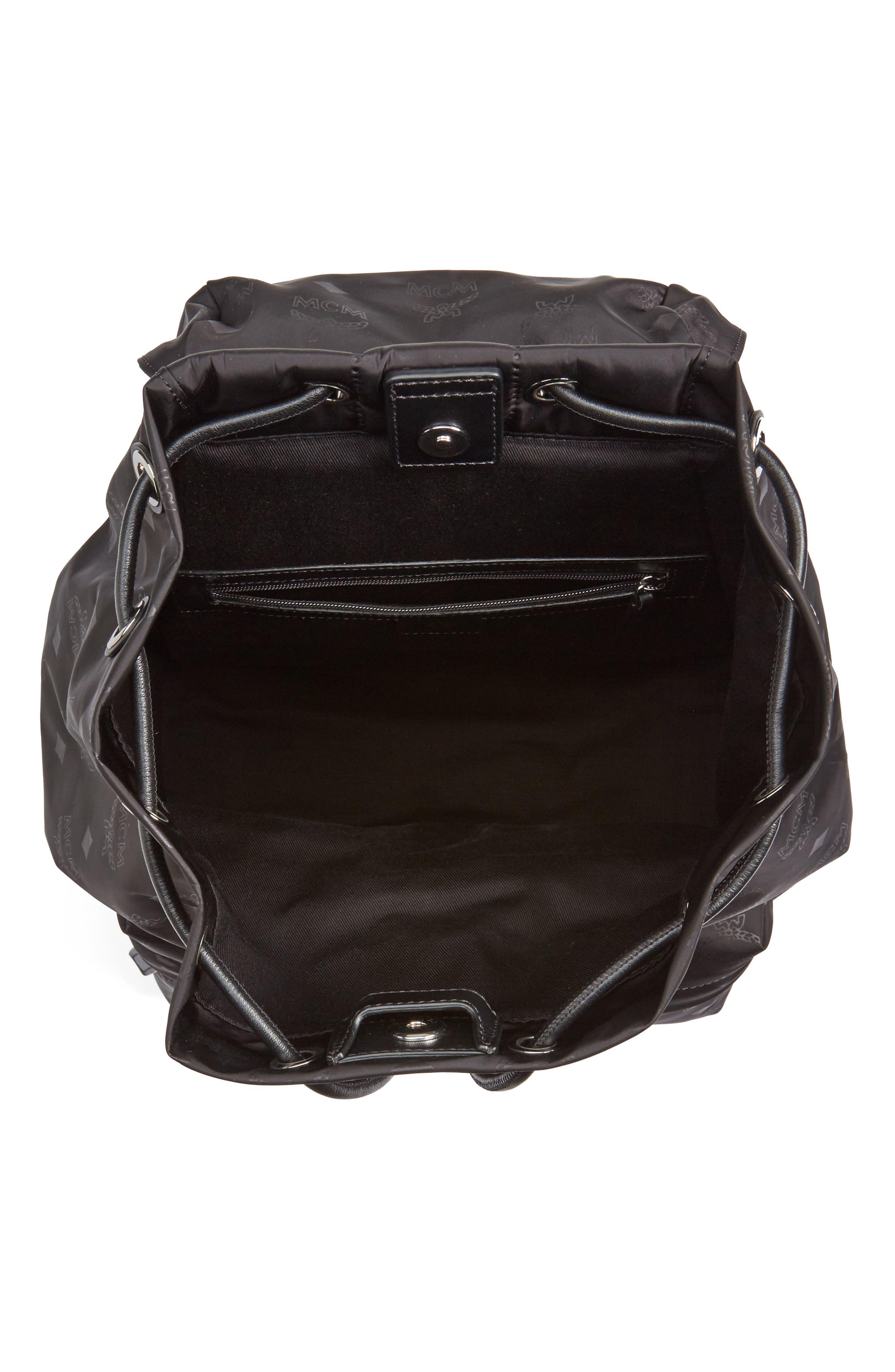 Small Dieter Monogrammed Nylon Backpack,                             Alternate thumbnail 3, color,                             BLACK