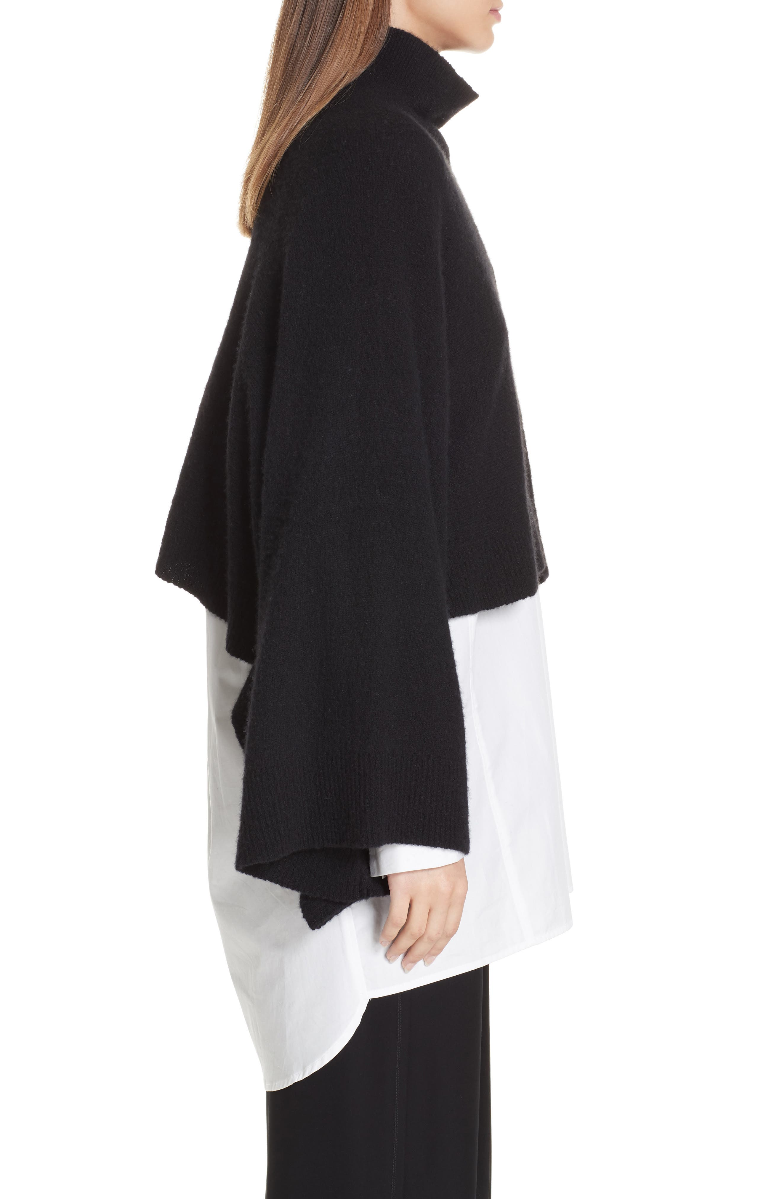 Crop Poncho Sweater,                             Alternate thumbnail 3, color,                             BLACK