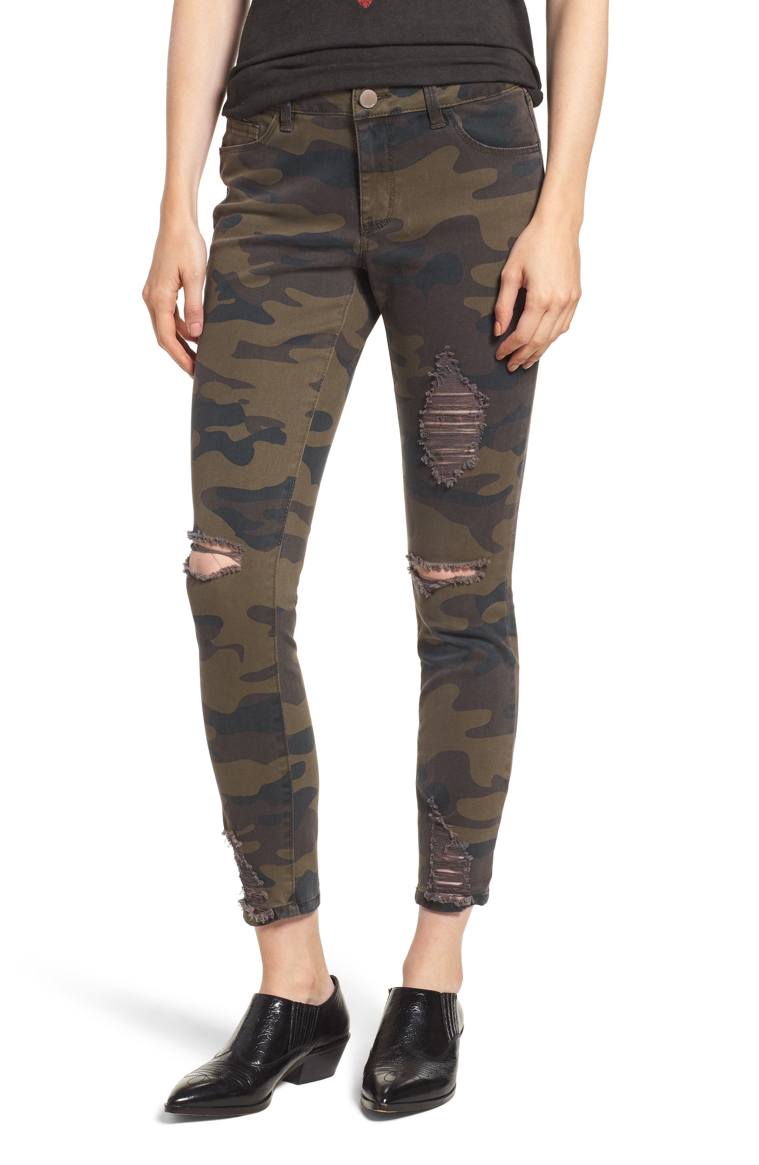 Ripped Camouflage Skinny Jeans,                             Main thumbnail 1, color,                             OLIVE COMBO