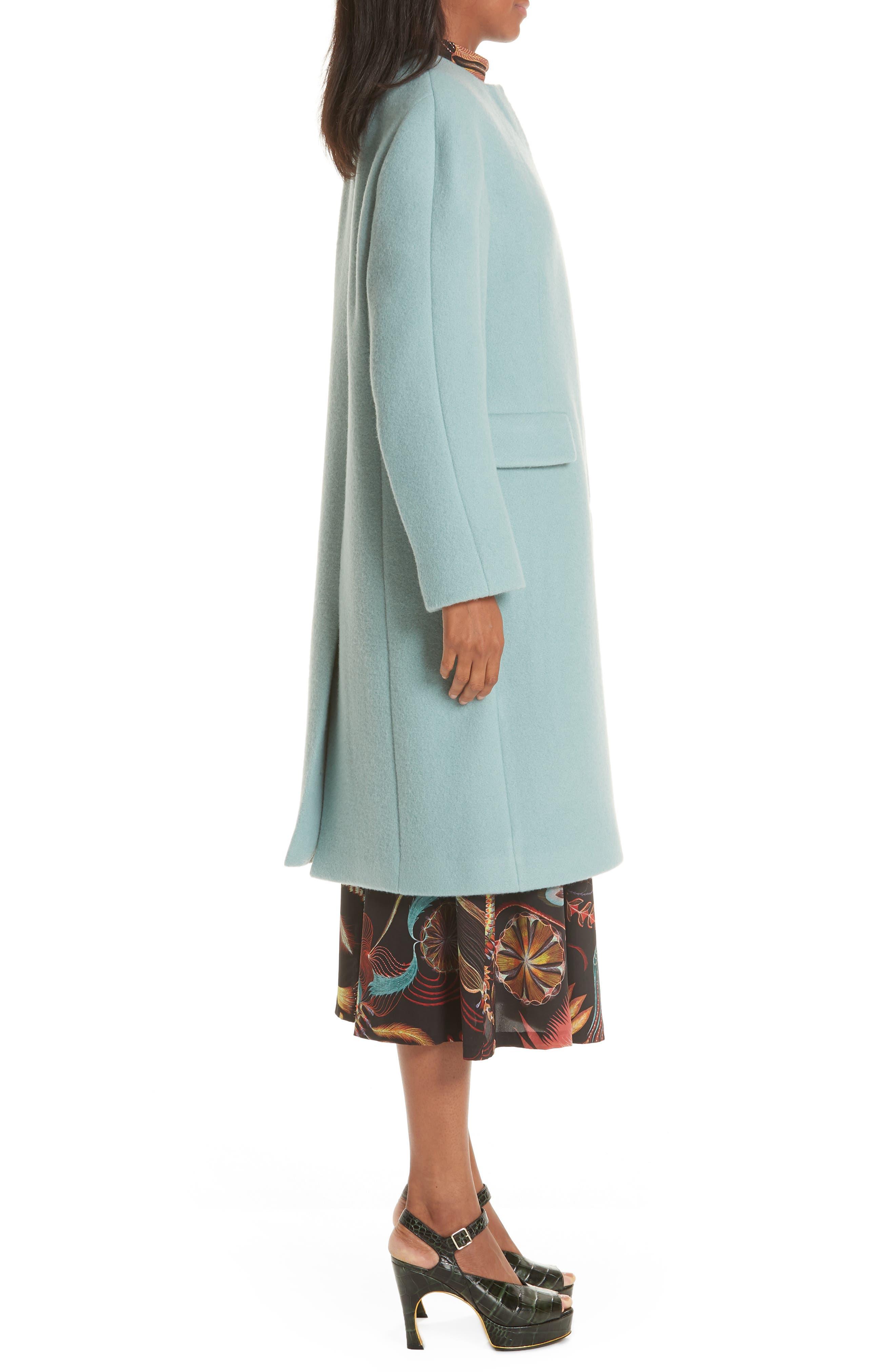 Wool & Mohair Coat,                             Alternate thumbnail 3, color,                             LIGHT BLUE