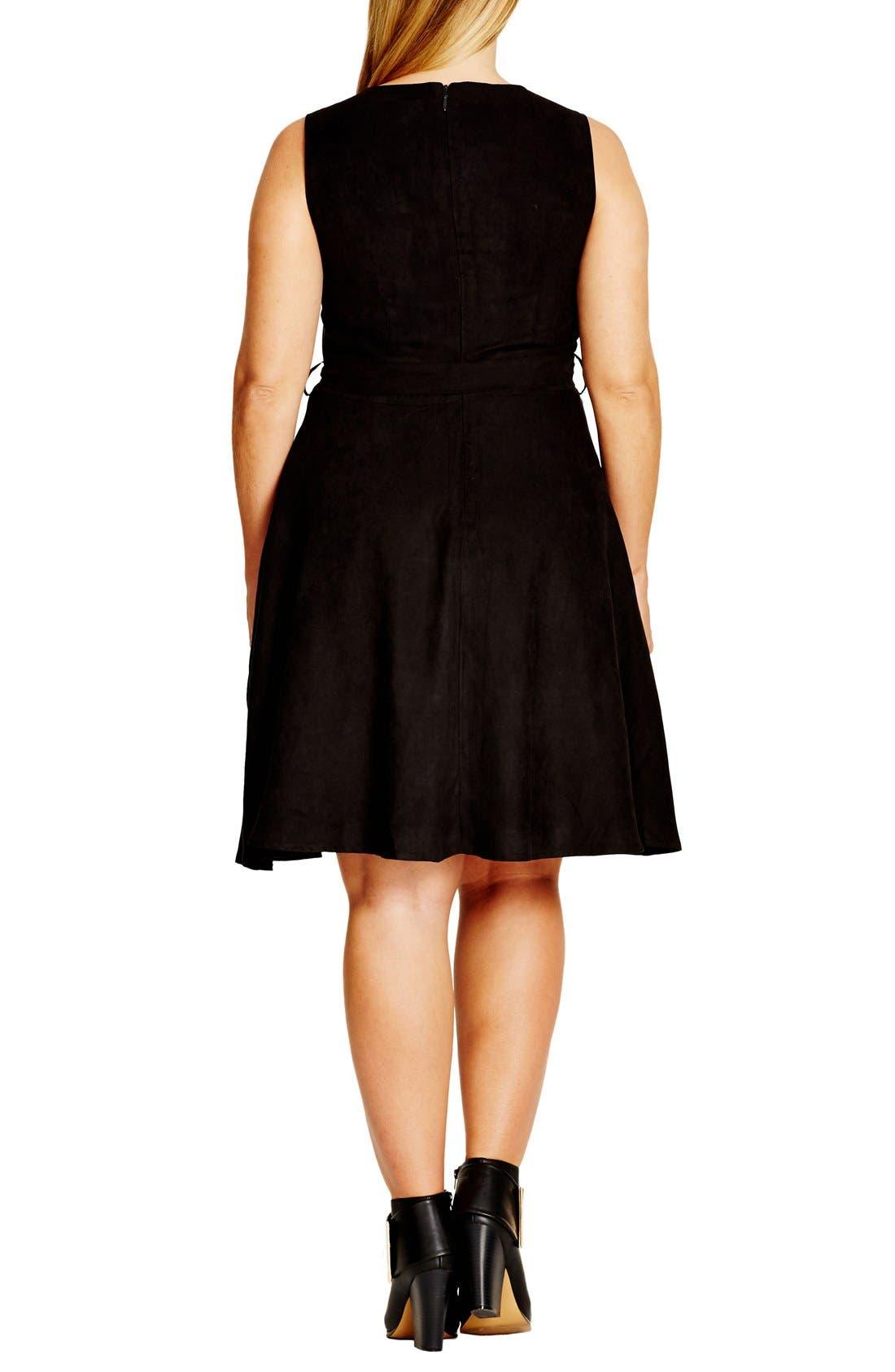 Faux Suede Fit & Flare Dress,                             Alternate thumbnail 2, color,                             001