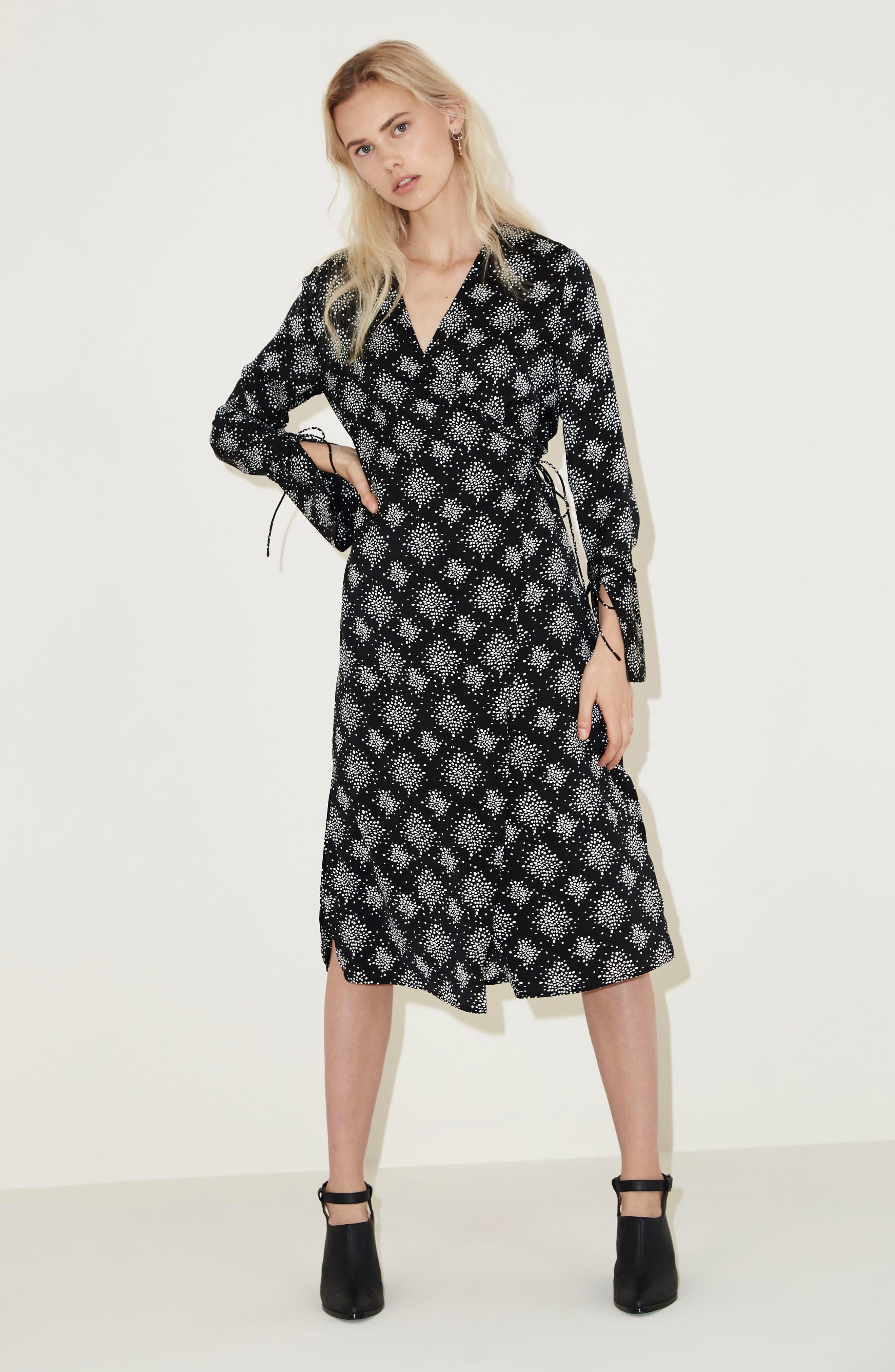 Emergent Wrap Midi Dress,                             Alternate thumbnail 7, color,                             002
