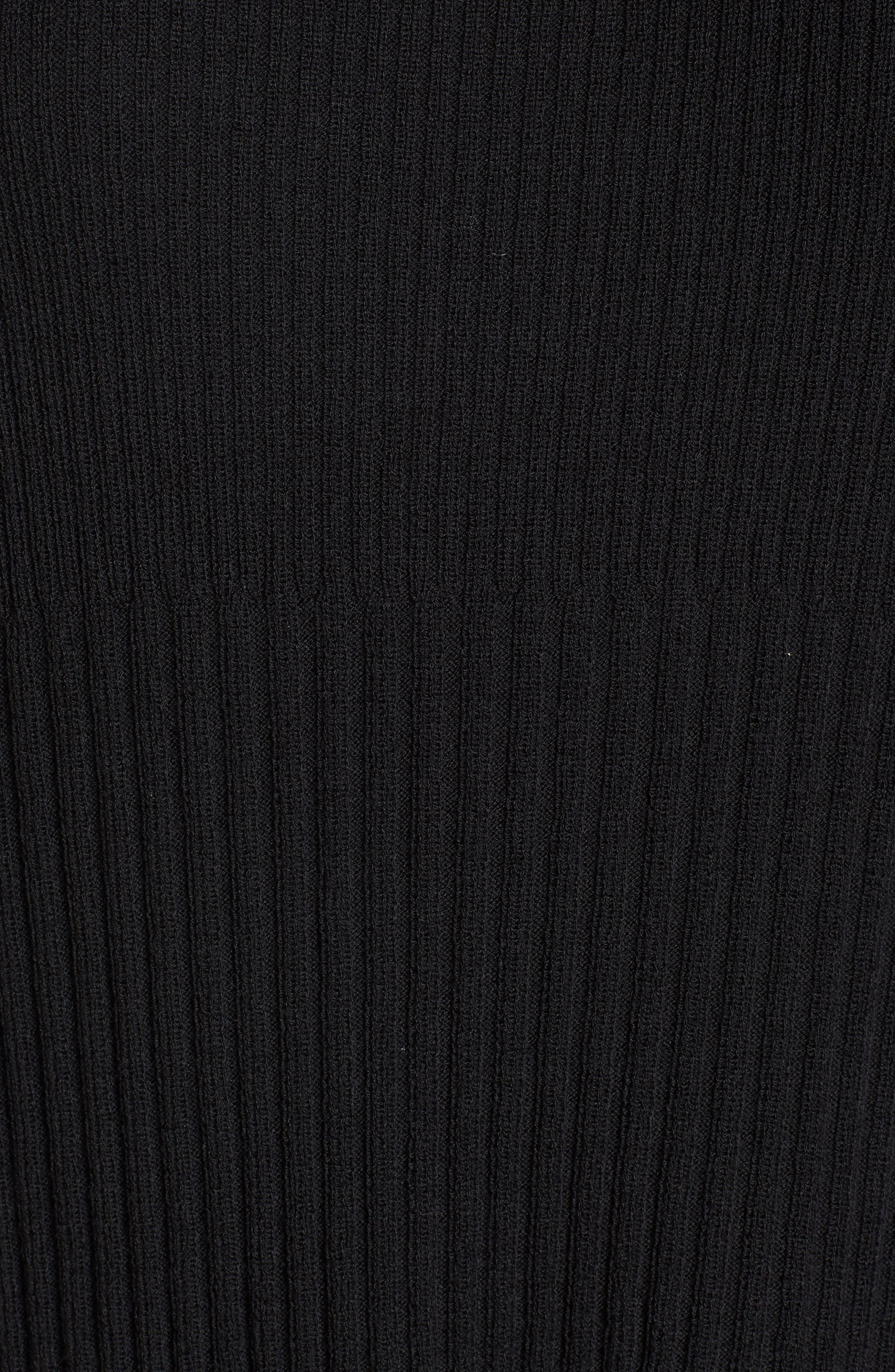 Ribbed Wool Sweater Dress,                             Alternate thumbnail 5, color,                             001