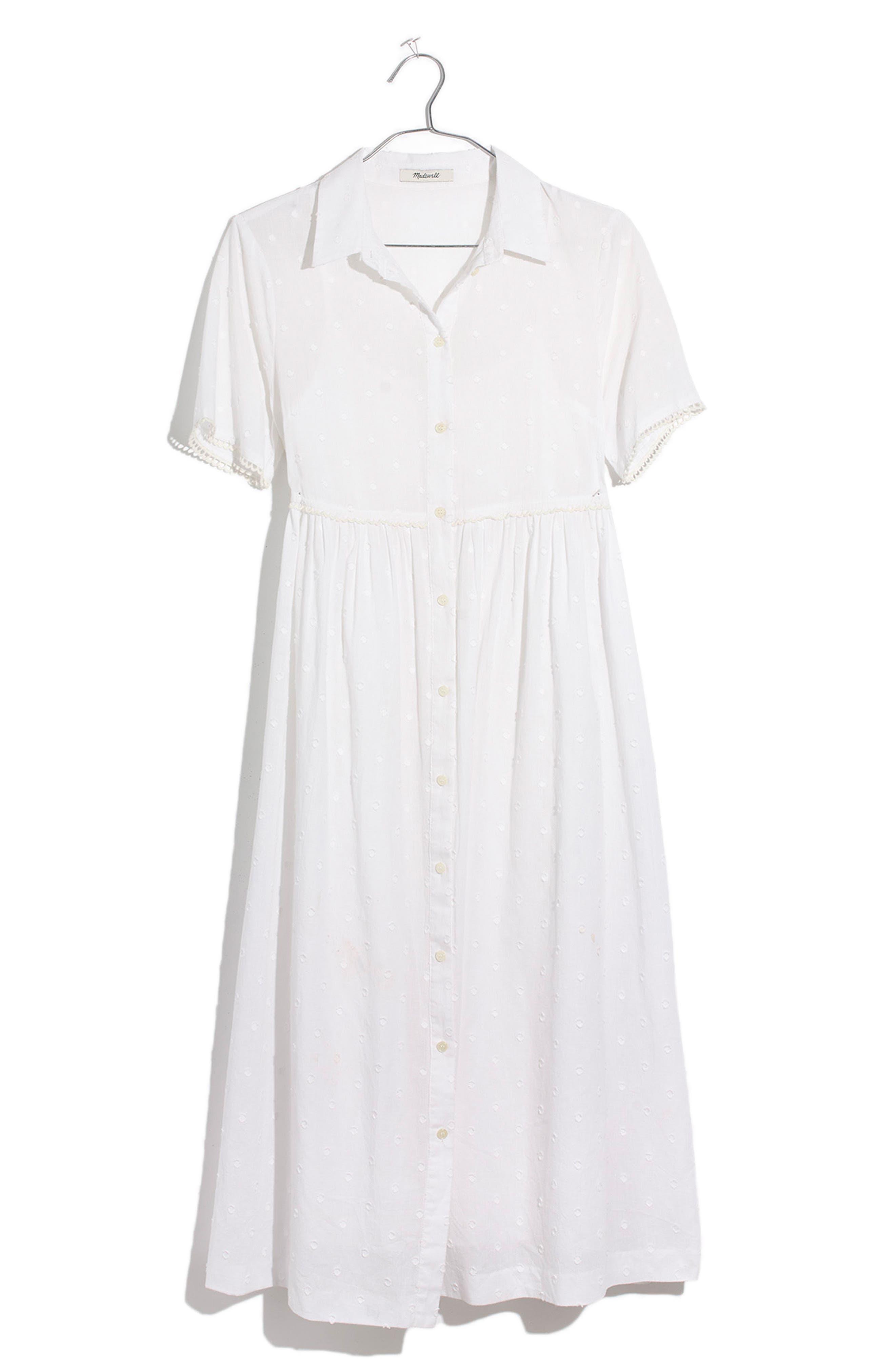 Clipdot Midi Shirtdress,                             Alternate thumbnail 4, color,                             EYELET WHITE
