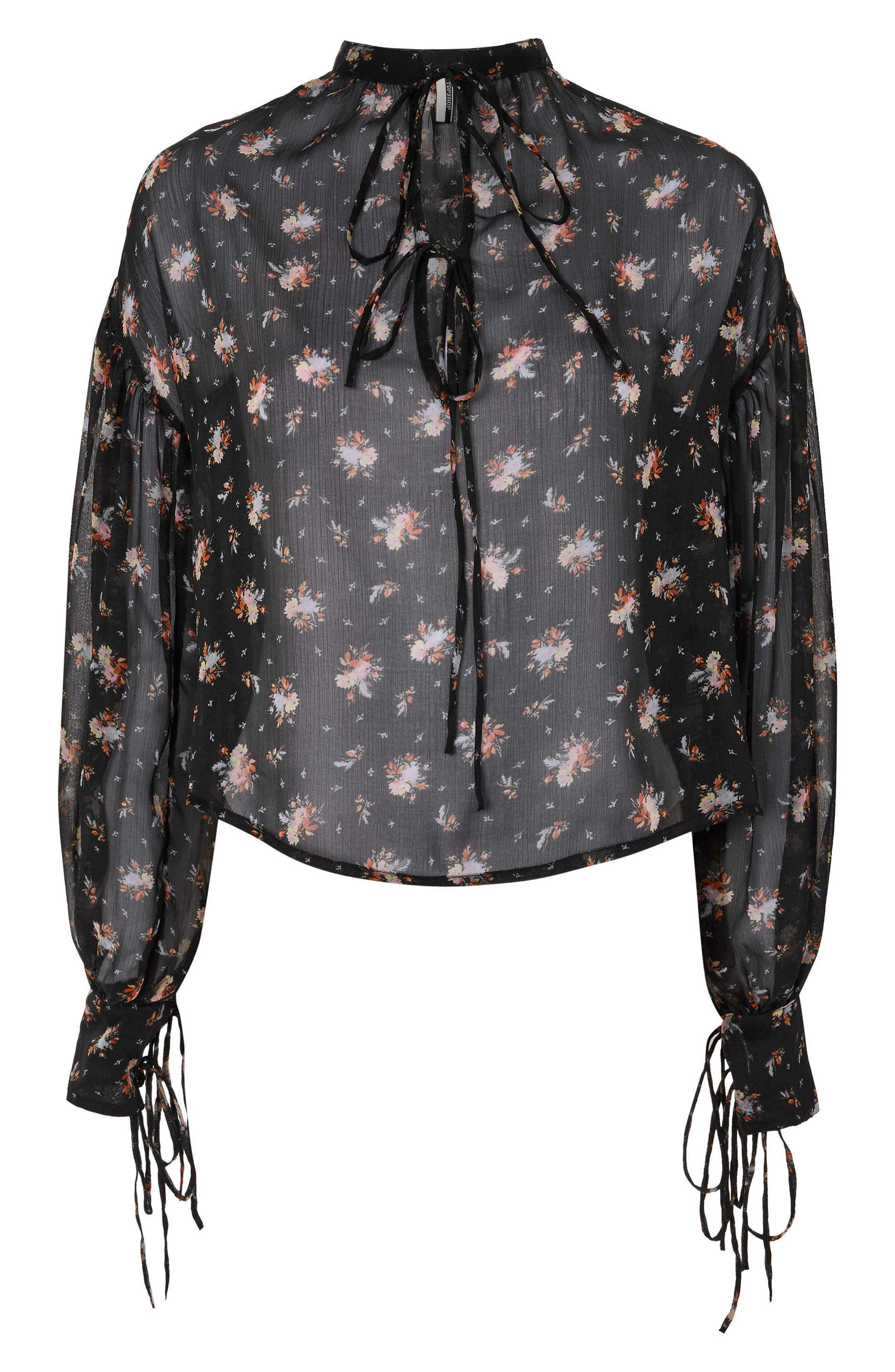 Gypsy Floral Sheer Blouse,                             Alternate thumbnail 3, color,                             001