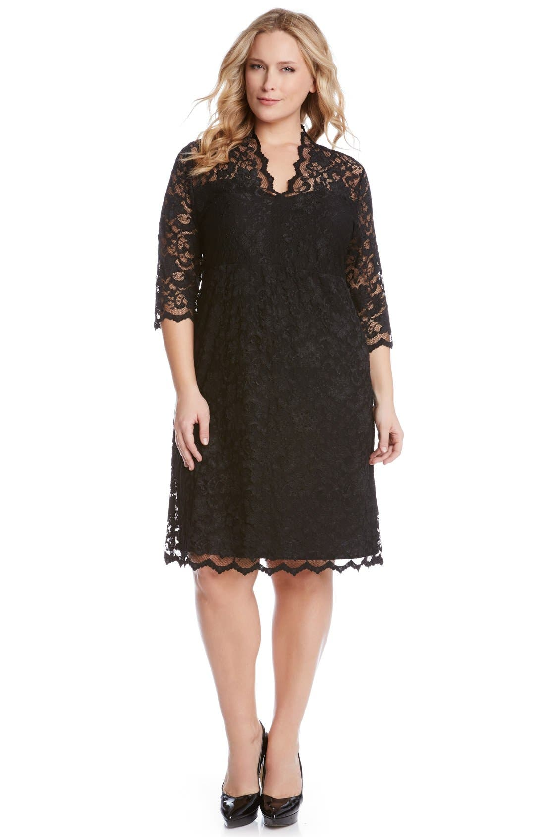 Scalloped Stretch Lace Dress,                             Alternate thumbnail 3, color,                             BLACK