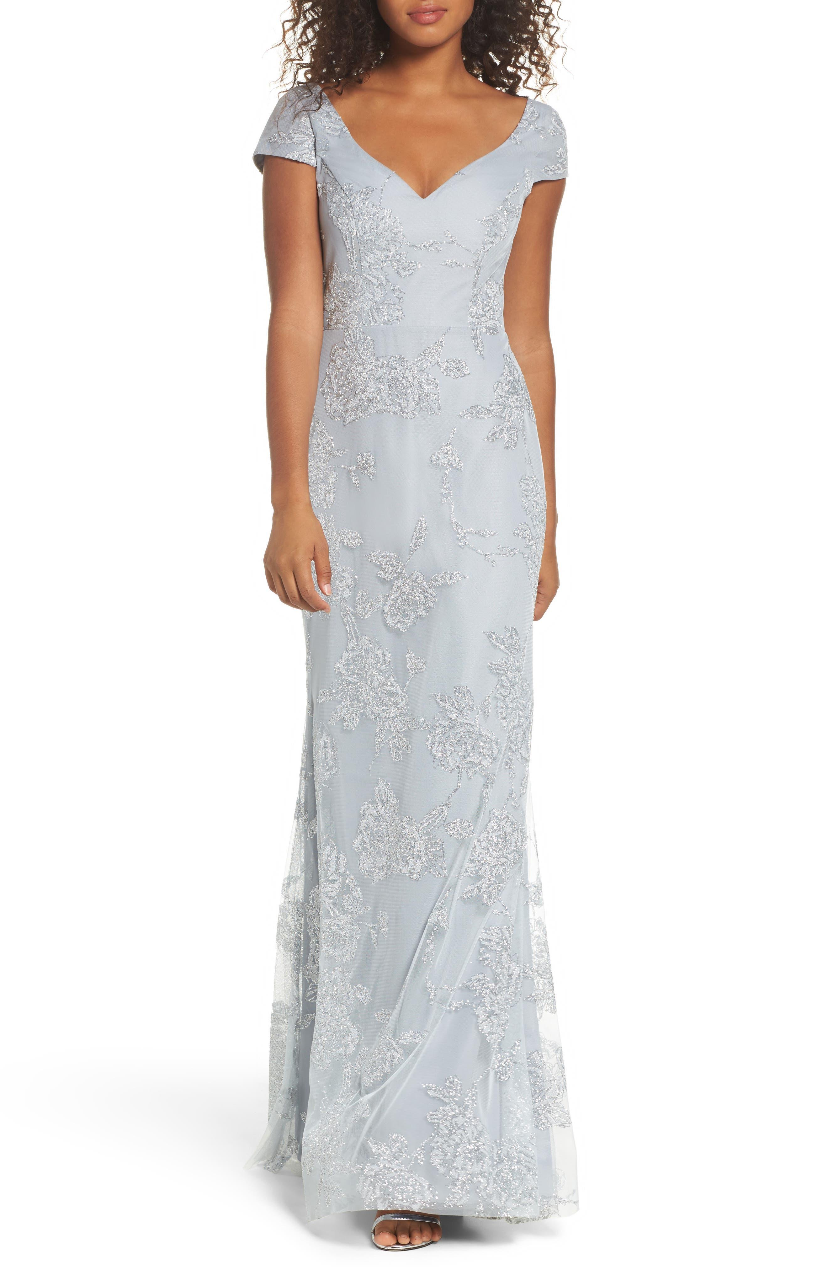 Embellished Bodice Net Halter Gown,                             Alternate thumbnail 5, color,                             PEWTER