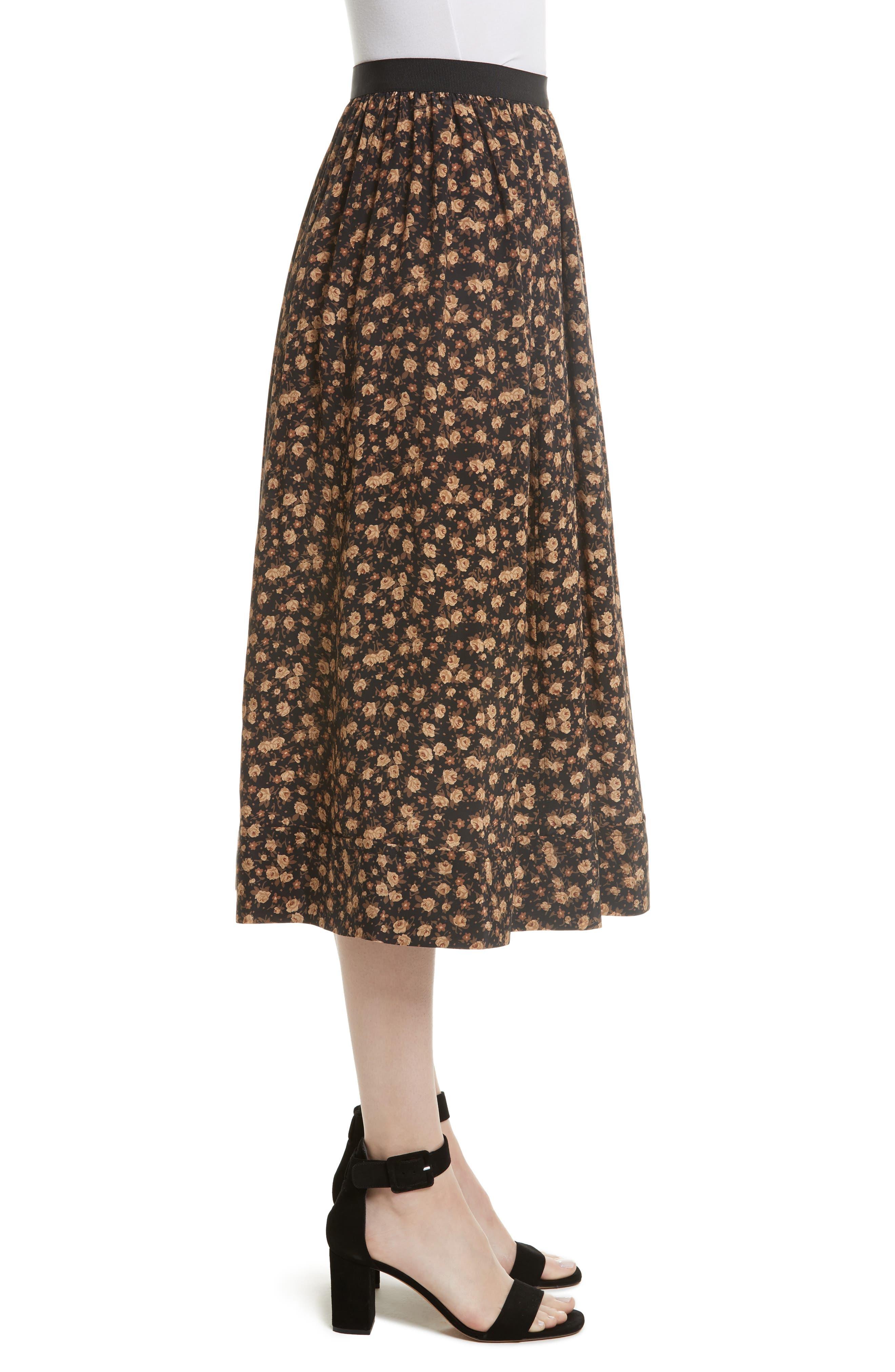 Dirndl Silk Floral Midi Skirt,                             Alternate thumbnail 3, color,                             007