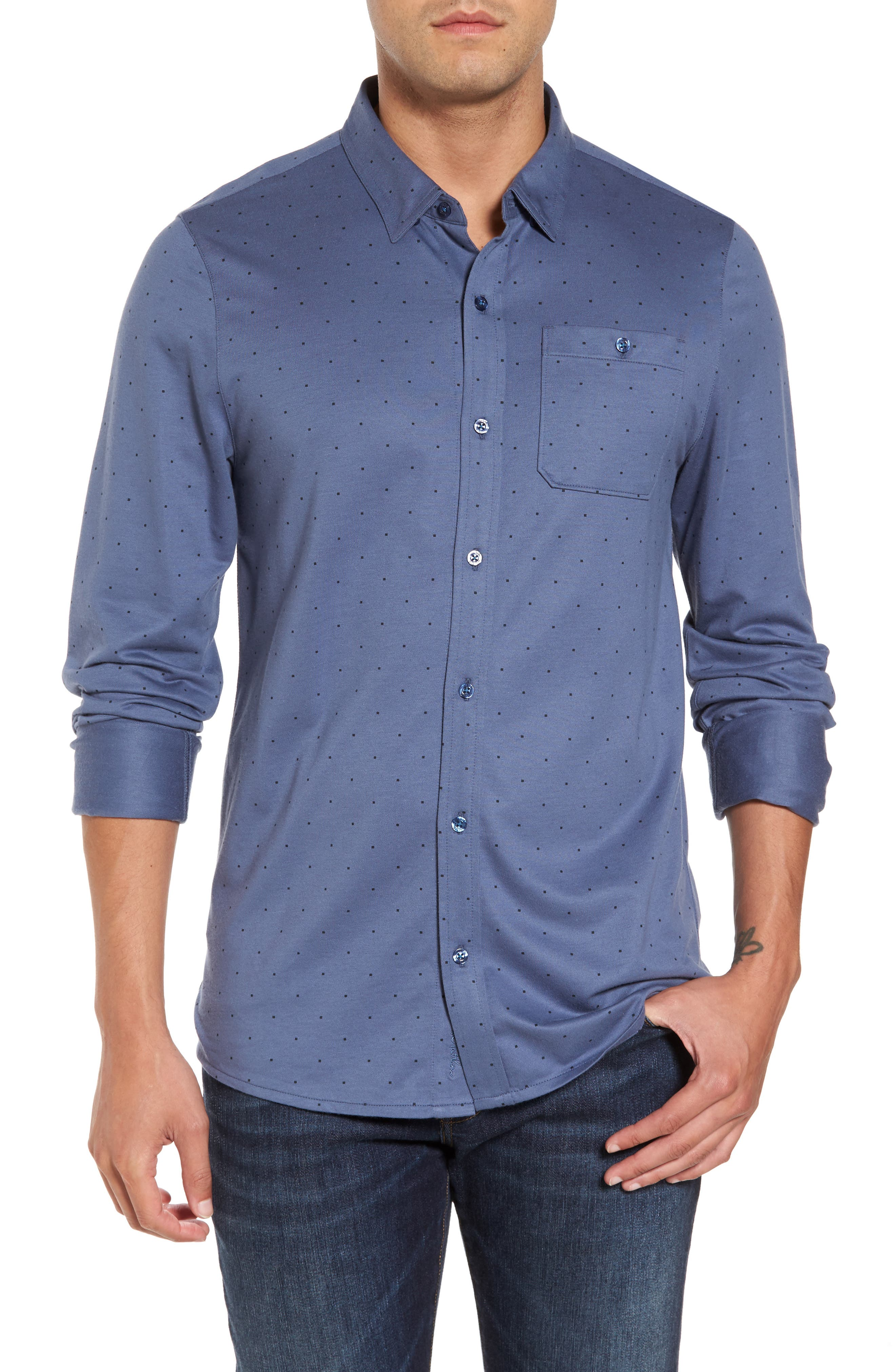 Randy Square Dot Sport Shirt,                         Main,                         color, 400