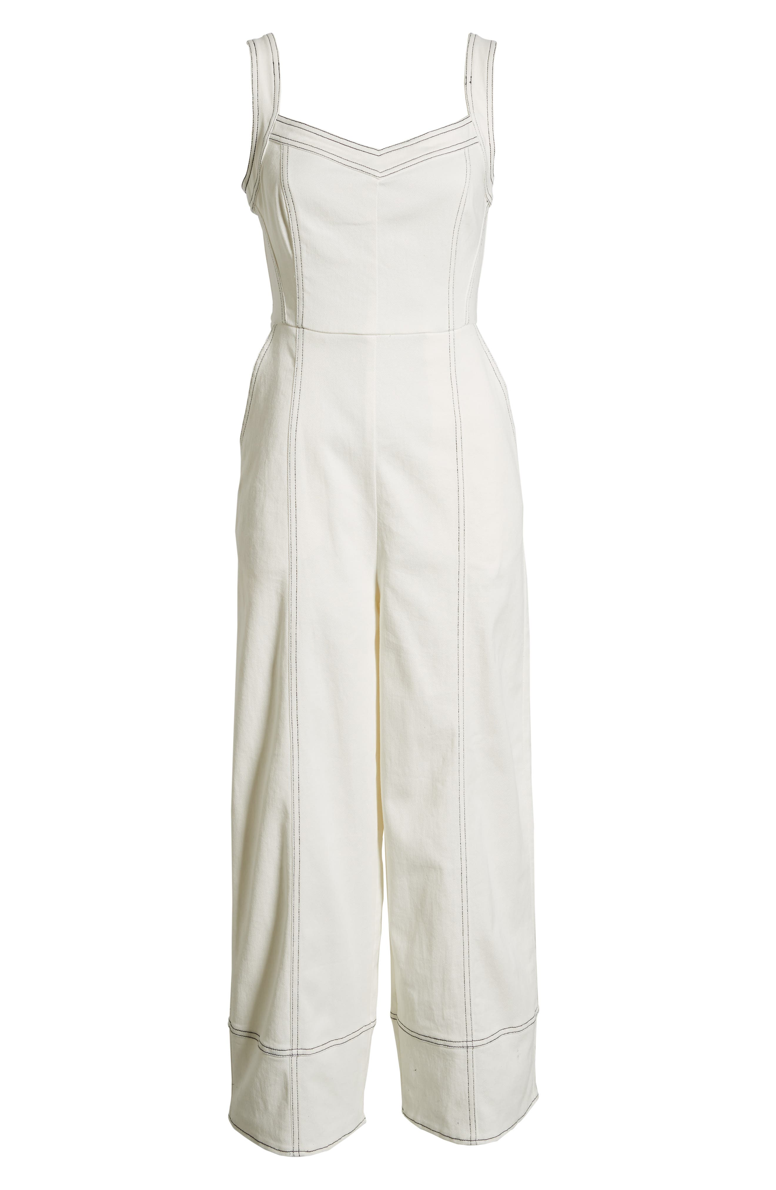 Moya Topstitch Detail Jumpsuit,                             Alternate thumbnail 7, color,                             WHITE