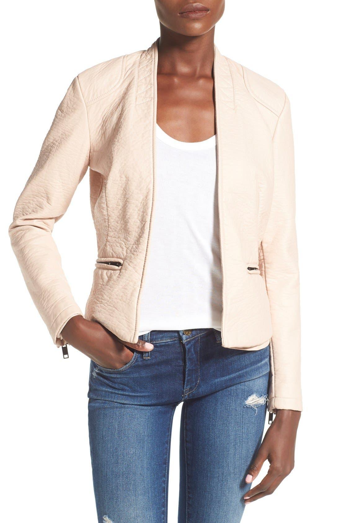 Faux Leather Open Front Jacket,                         Main,                         color,