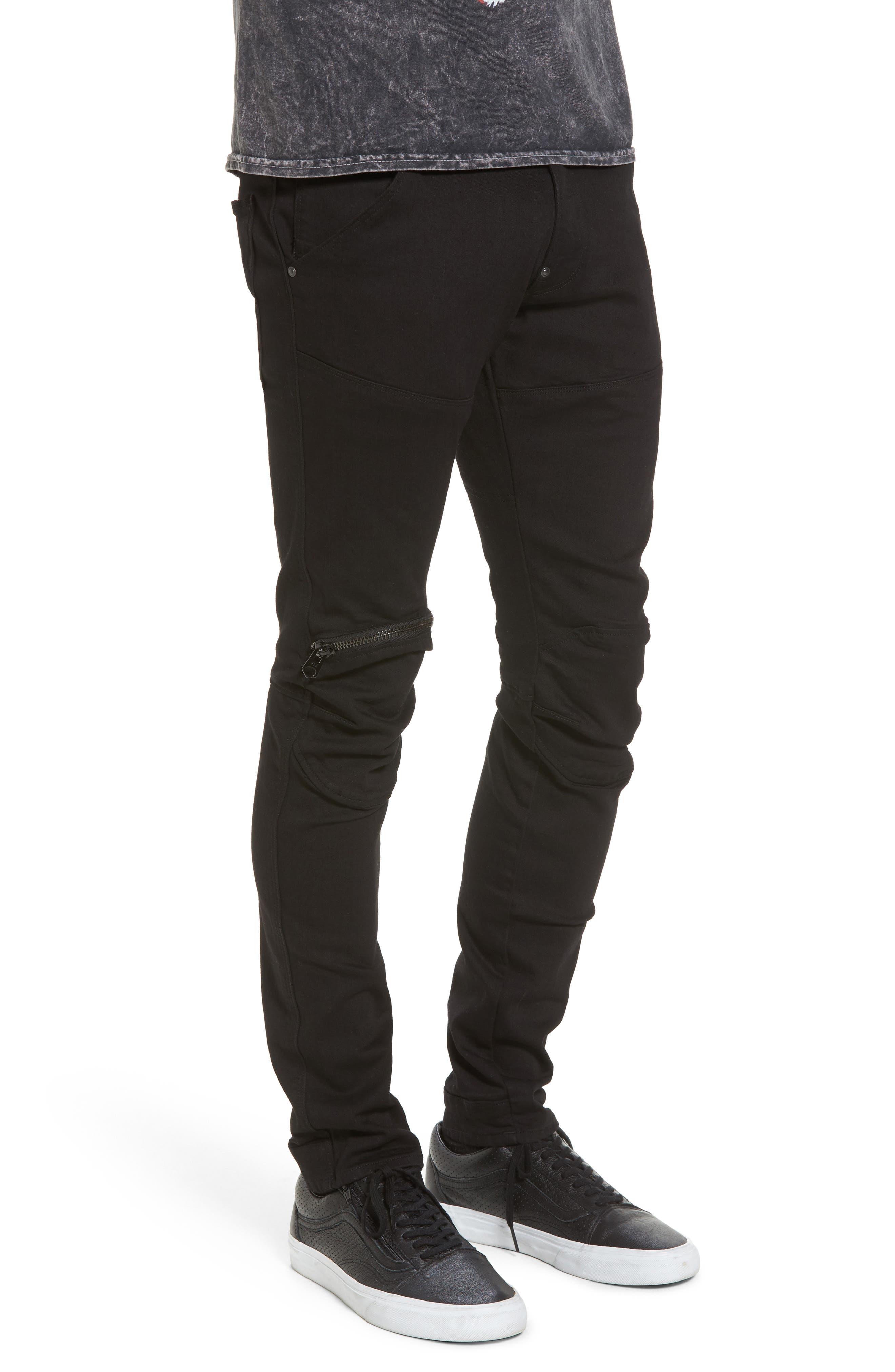 3D Zip Knee Super Slim Pants,                             Alternate thumbnail 3, color,                             001