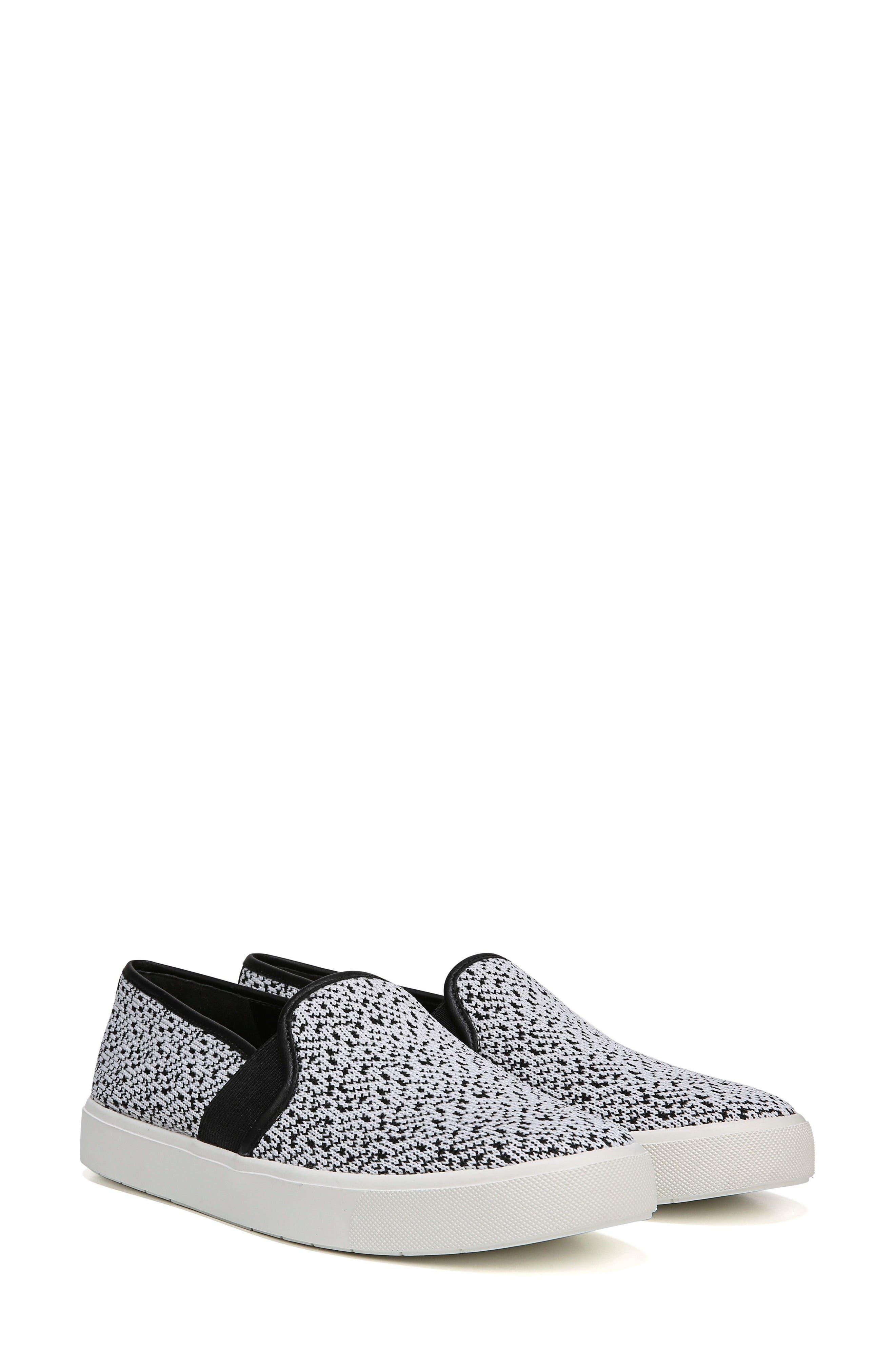 'Blair 12' Leather Slip-On Sneaker,                             Alternate thumbnail 6, color,                             WHITE/ BLACK YETI KNIT