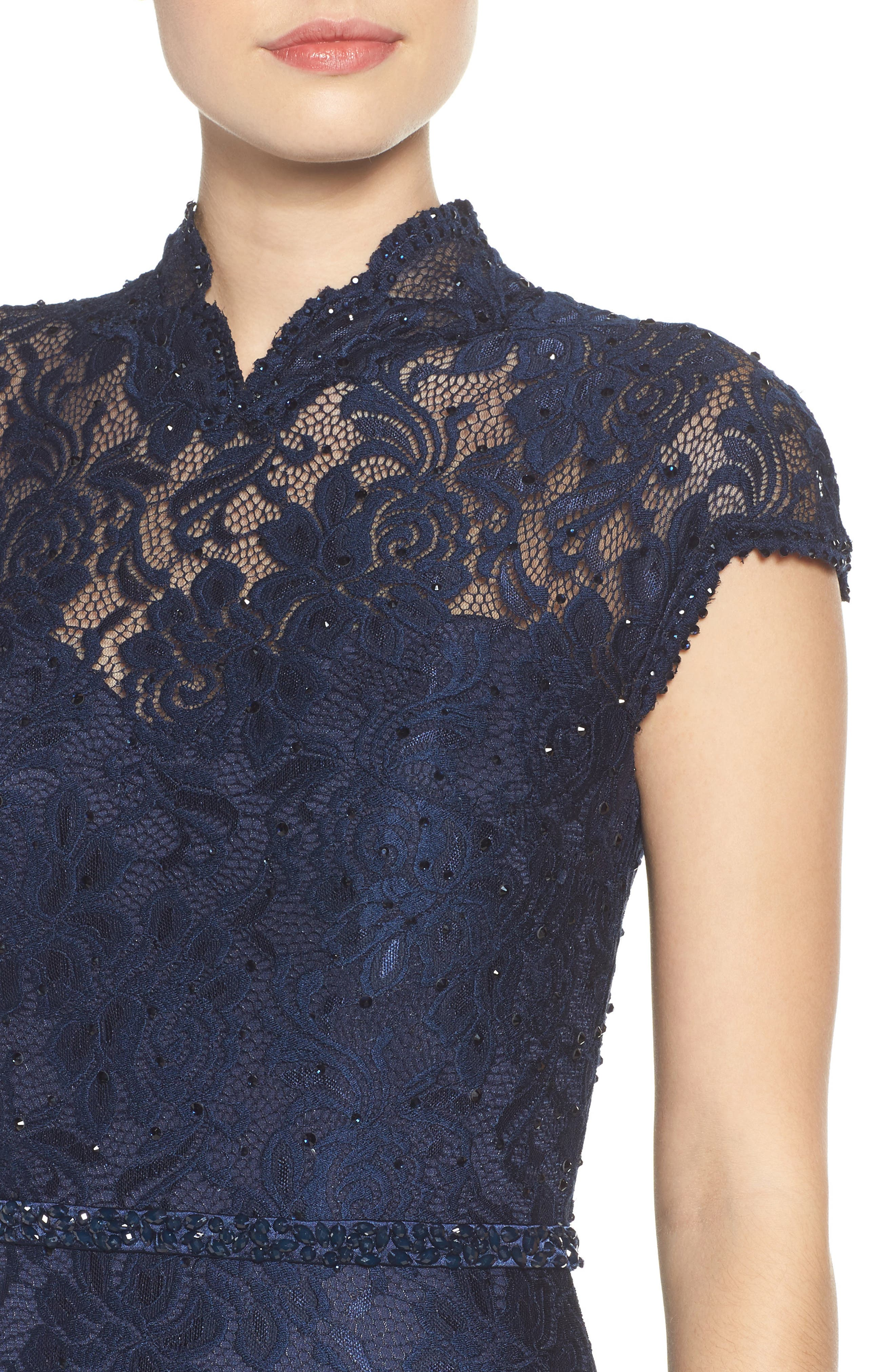 Embellished Lace Gown,                             Alternate thumbnail 5, color,                             NAVY