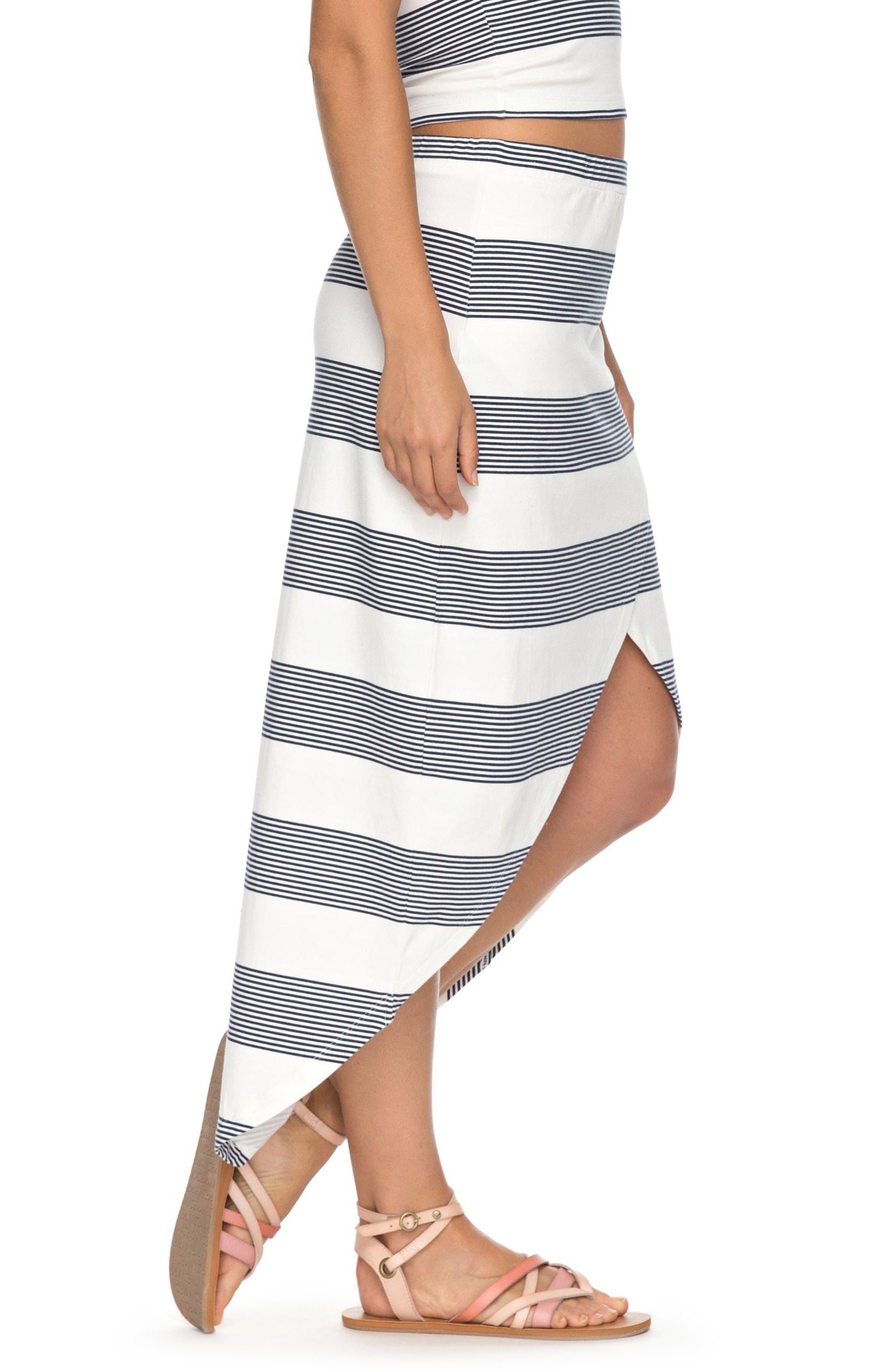 Romantic Ocean Stripe High/Low Skirt,                             Alternate thumbnail 3, color,                             900