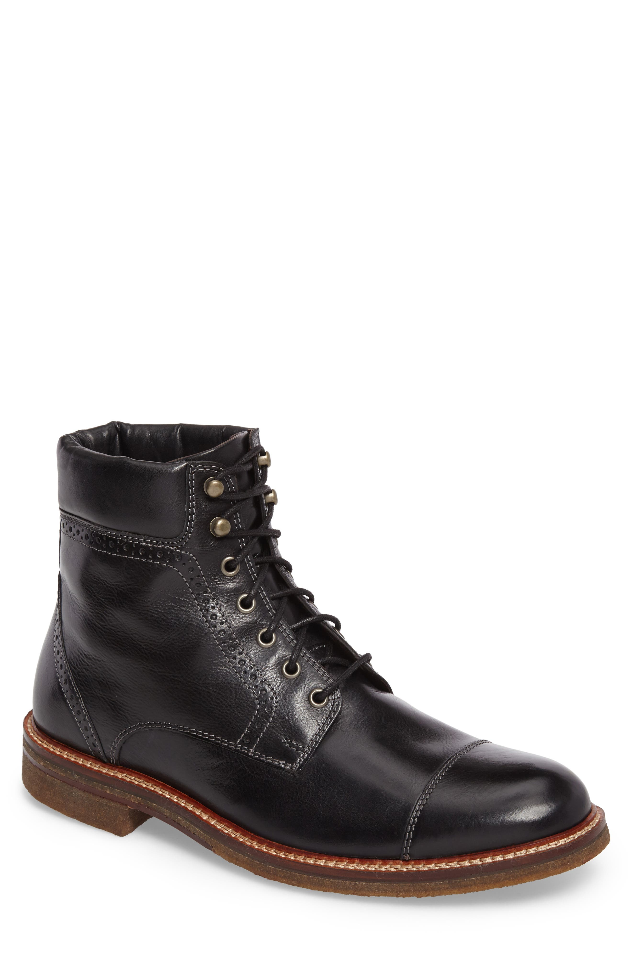 Forrester Cap Toe Boot,                             Main thumbnail 1, color,                             BLACK LEATHER